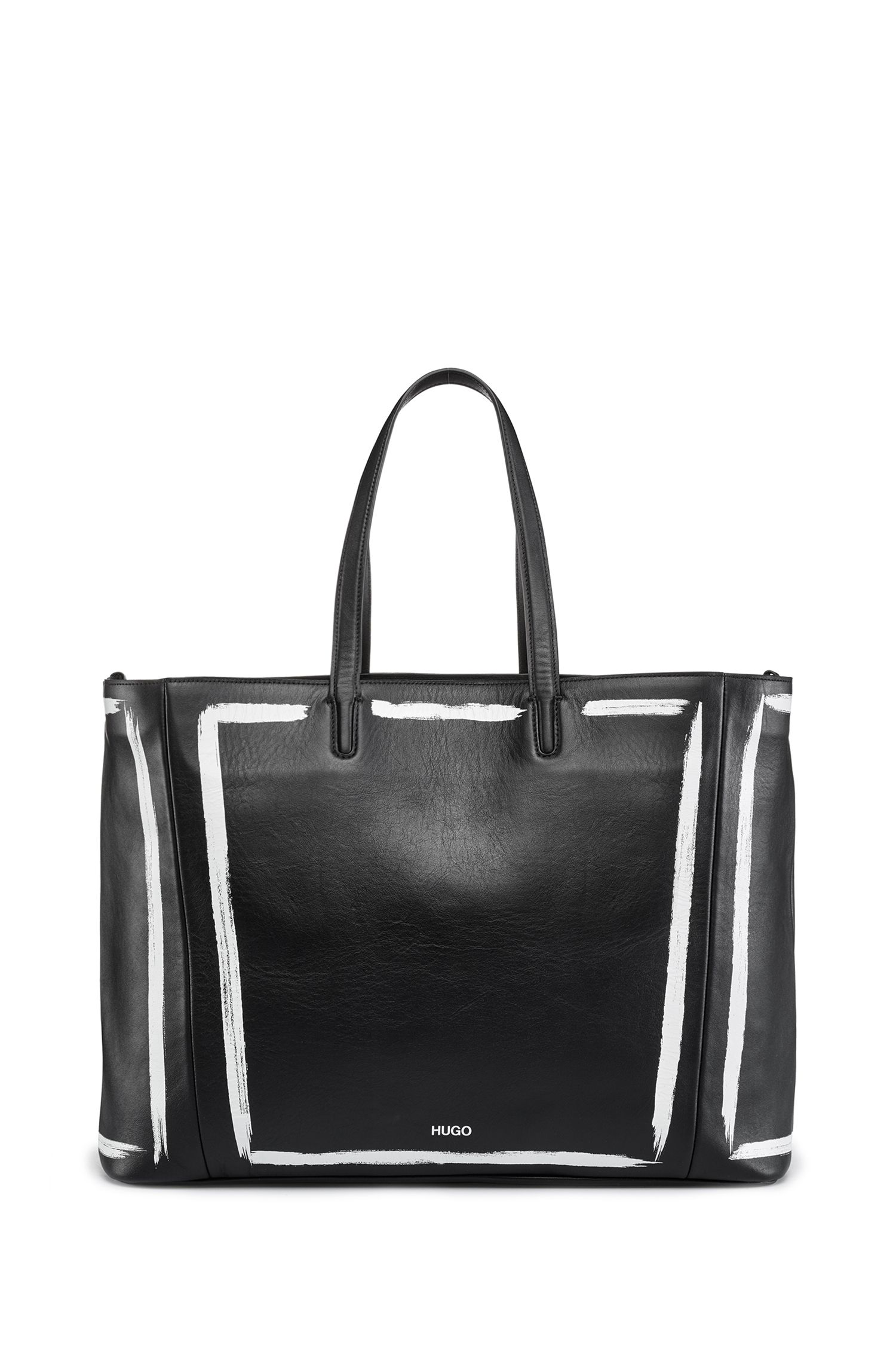 Print-detail shopper bag in semi-aniline leather