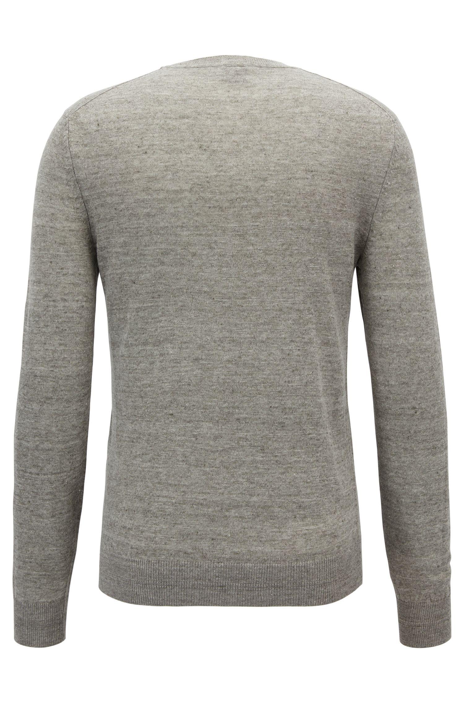 Leichter Pullover aus meliertem Leinen mit Rundhalsausschnitt