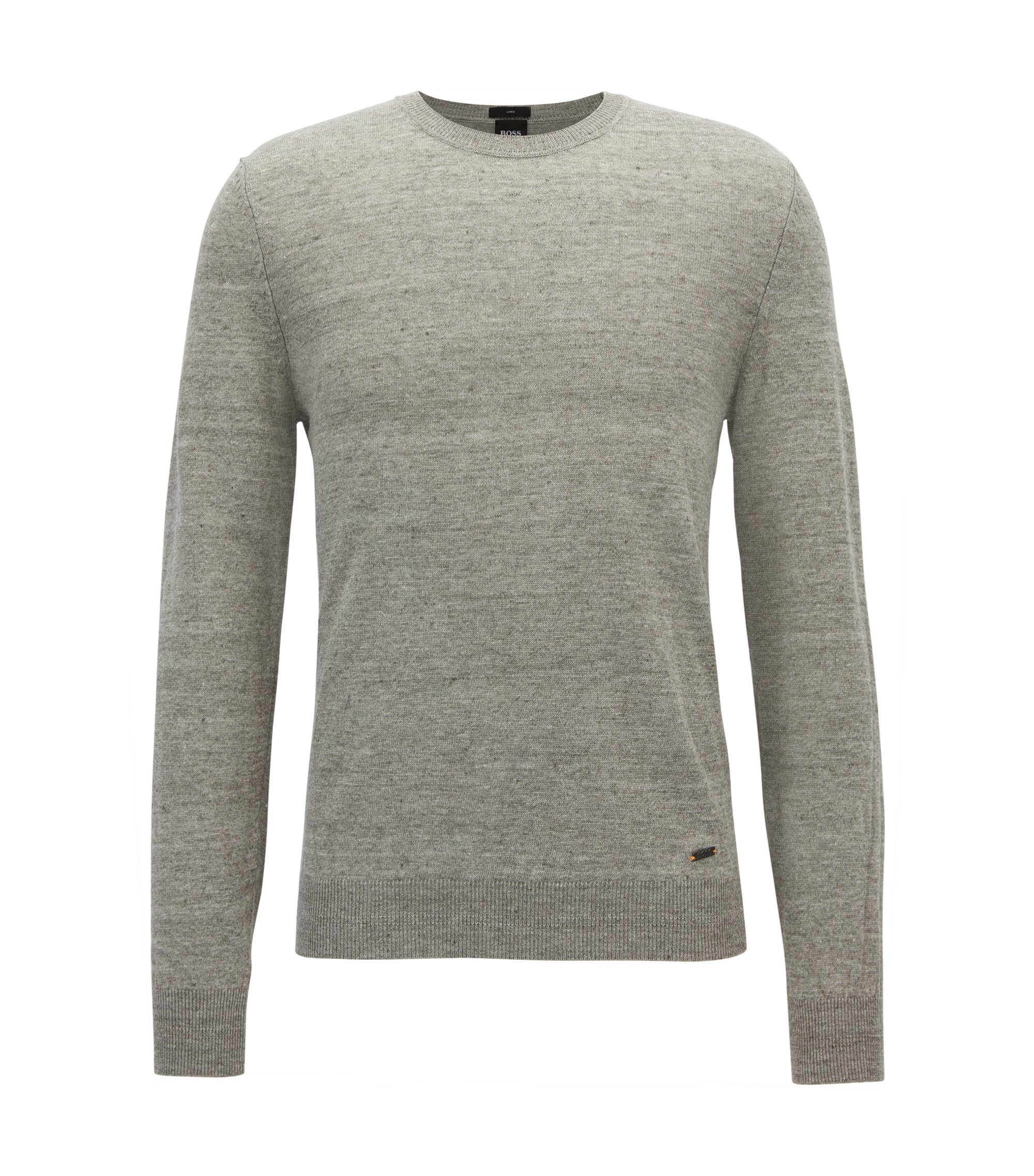 Lightweight crew-neck sweater in melange linen, Light Grey