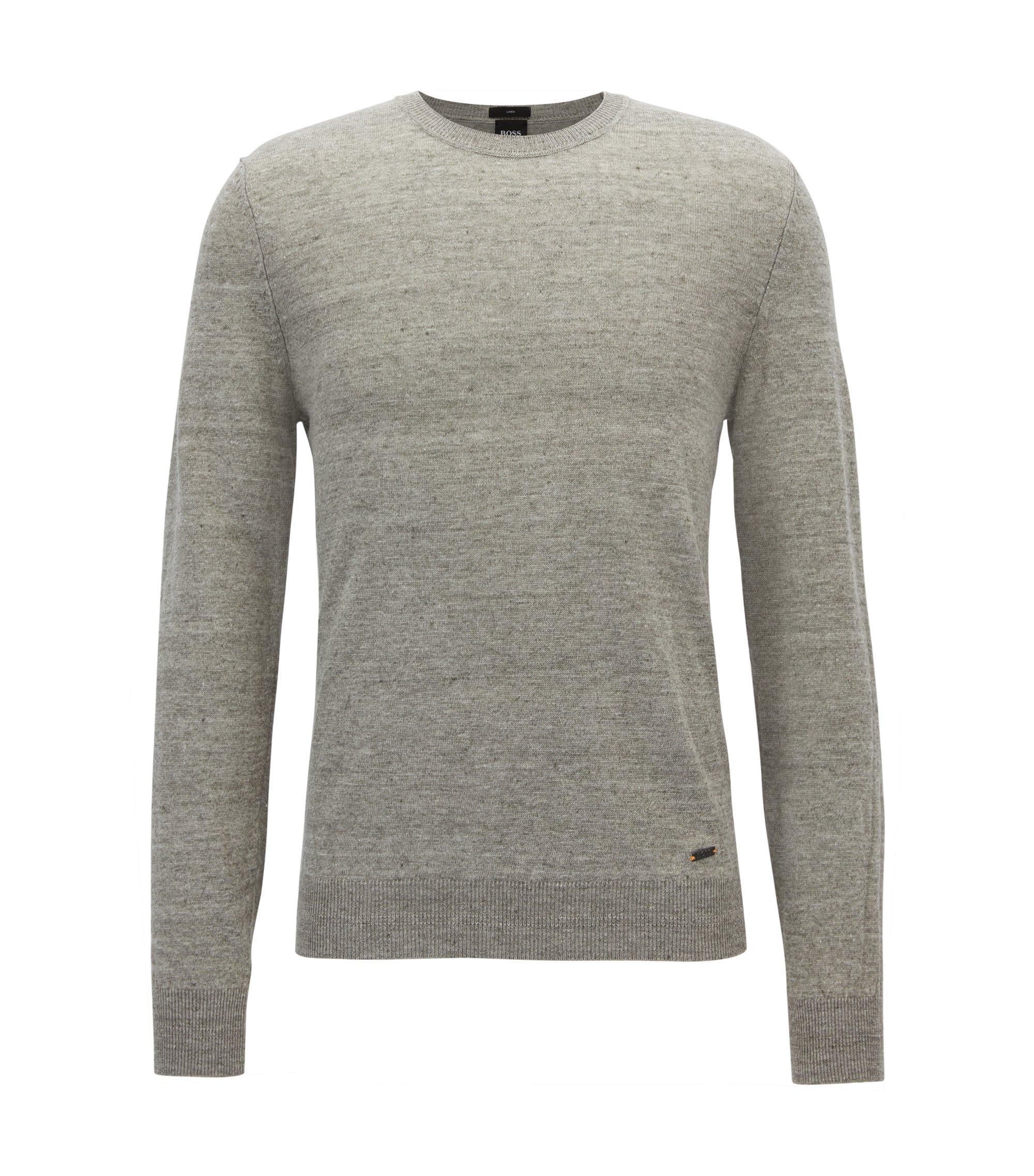 Leichter Pullover aus meliertem Leinen mit Rundhalsausschnitt, Hellgrau