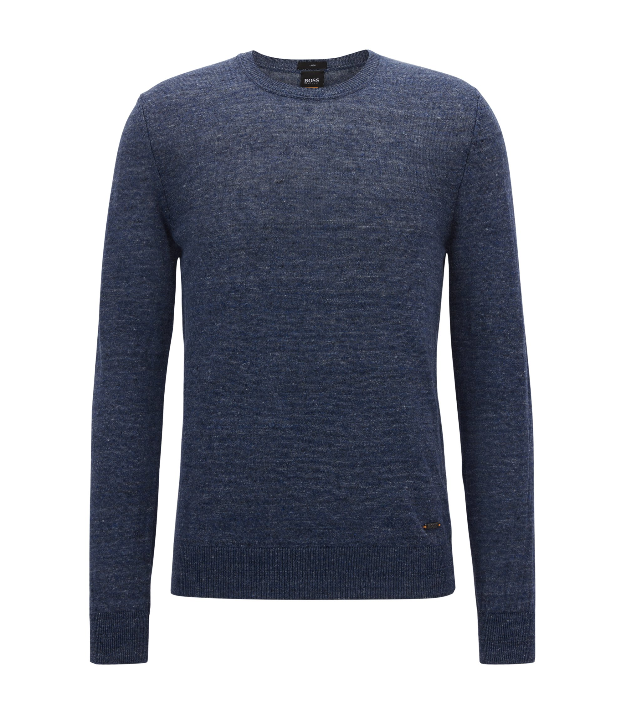 Lightweight crew-neck sweater in melange linen, Dark Blue