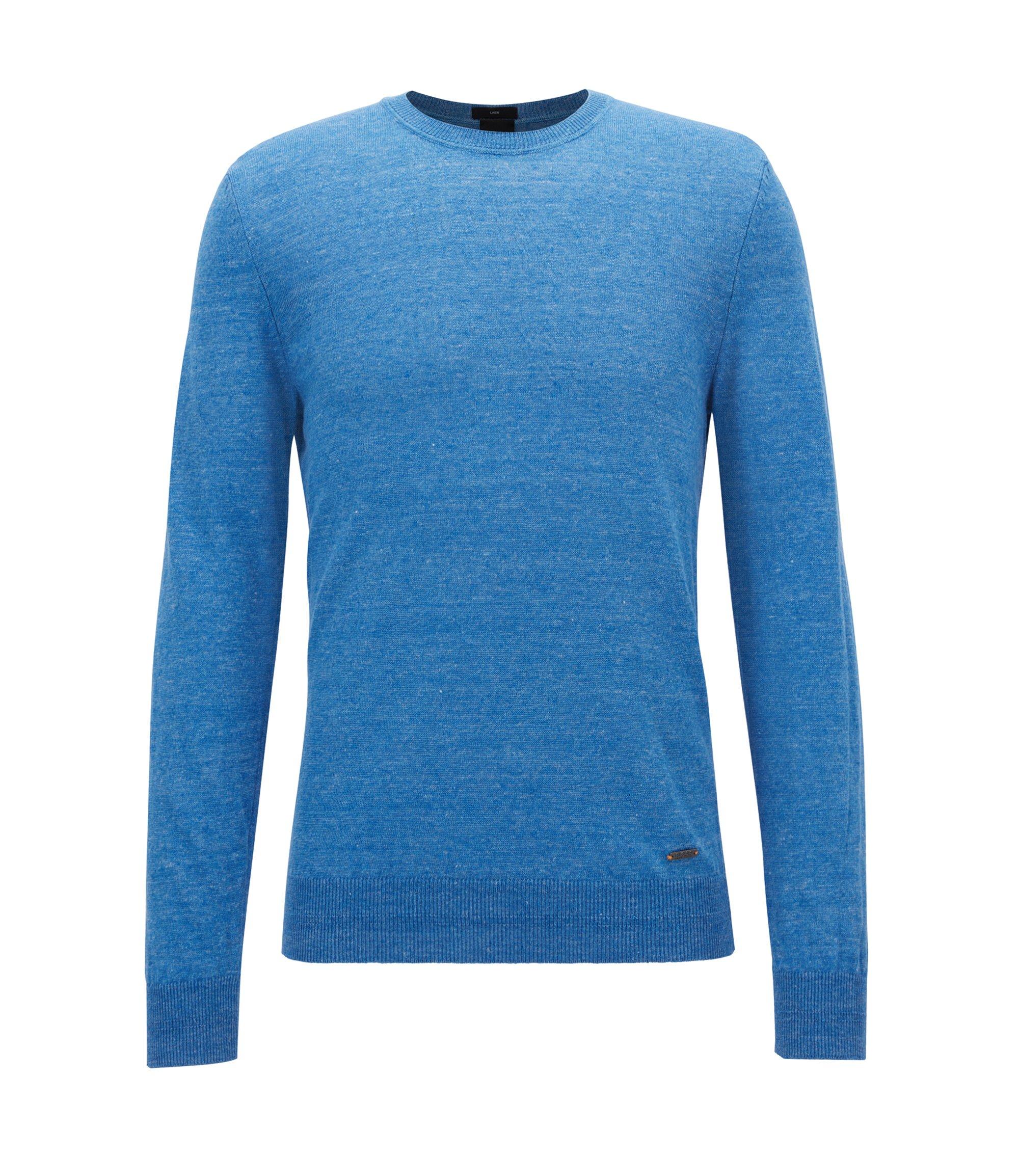 Jersey ligero de cuello redondo en lino jaspeado, Azul