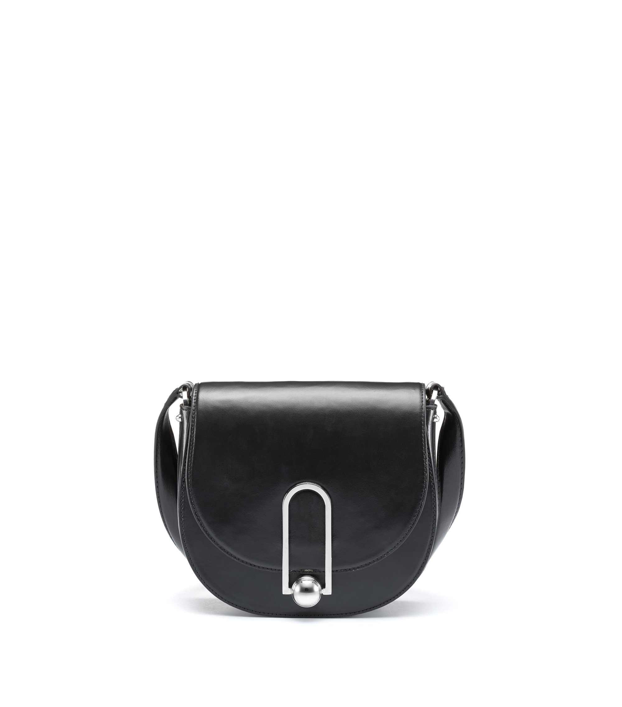 Smooth leather saddle bag with polished hardware, Black