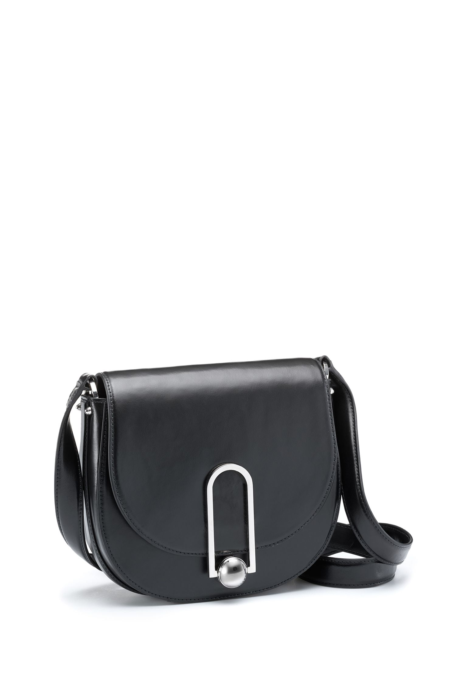 Smooth leather saddle bag with polished hardware