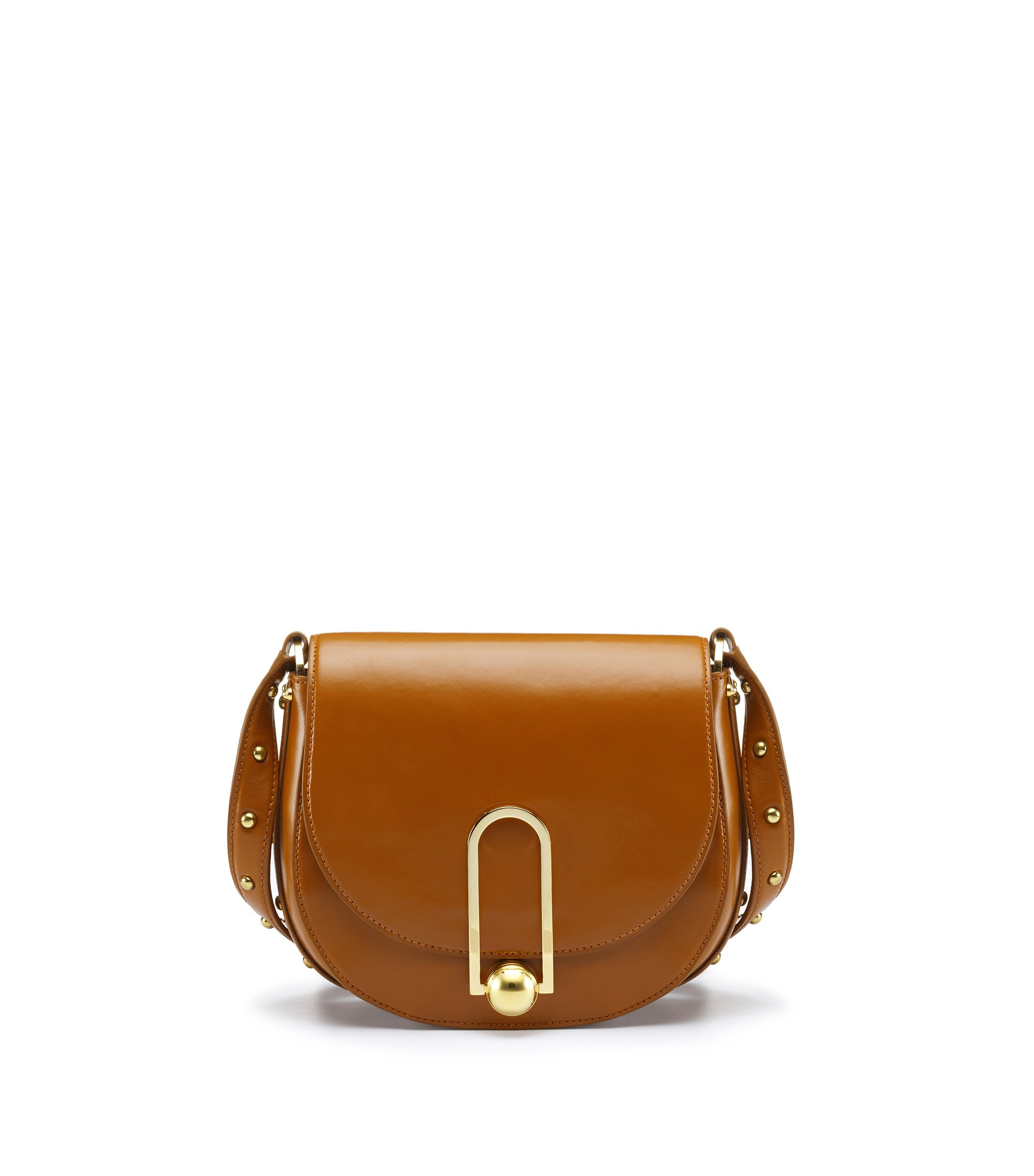 Smooth leather saddle bag with stud detailing, Brown