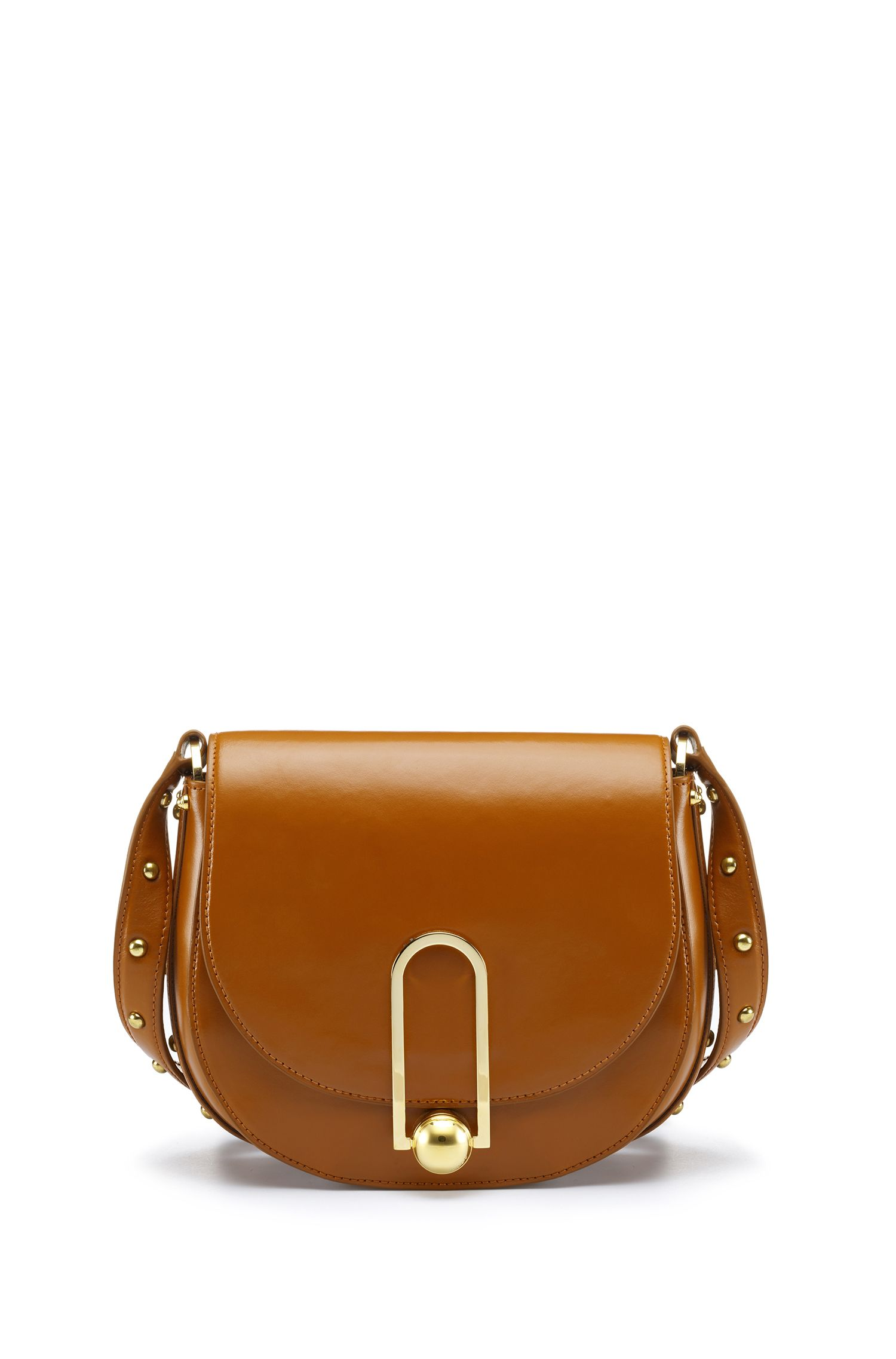 Smooth leather saddle bag with stud detailing
