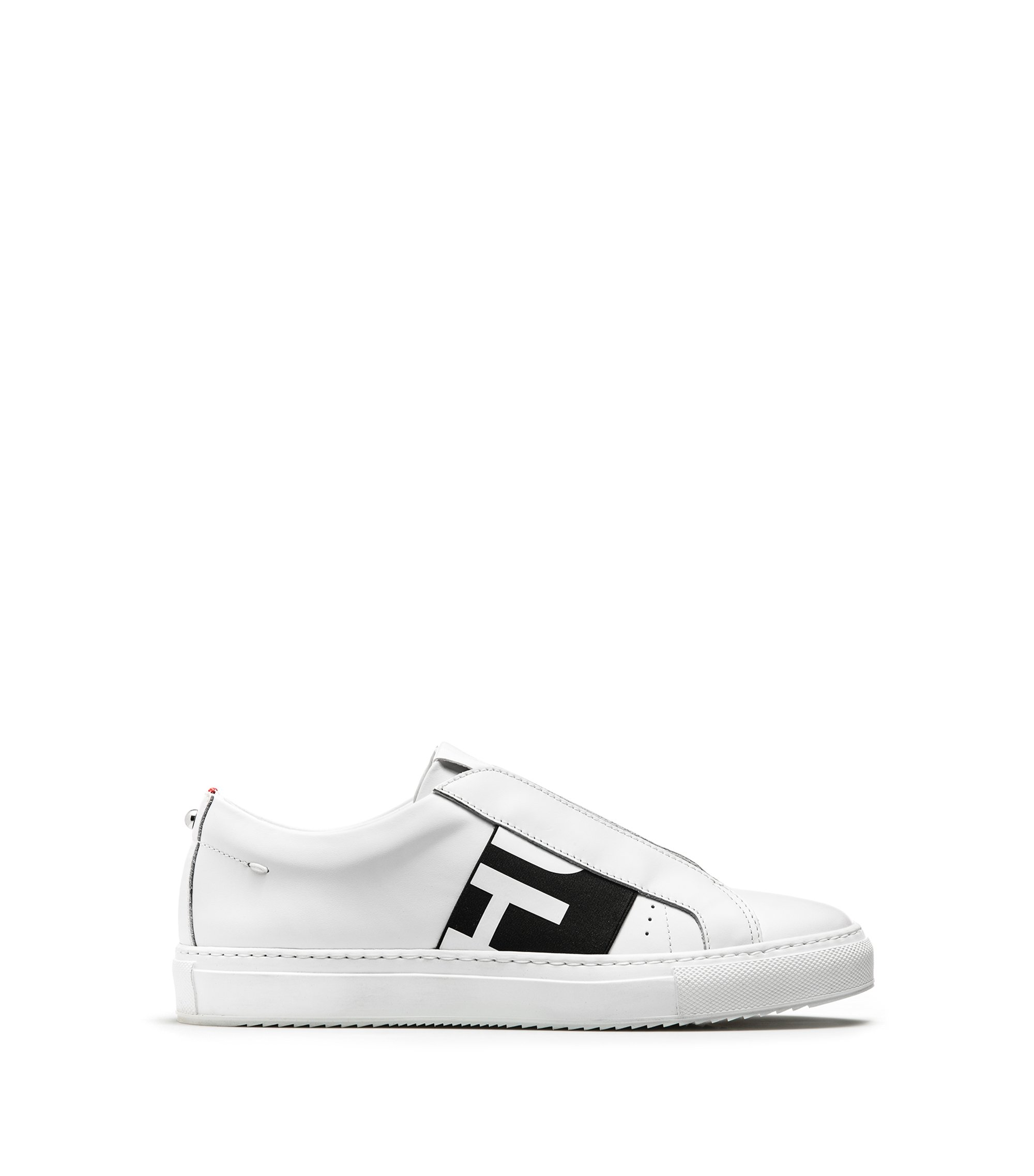 Reverse-logo slip-on trainers in calf leather , White