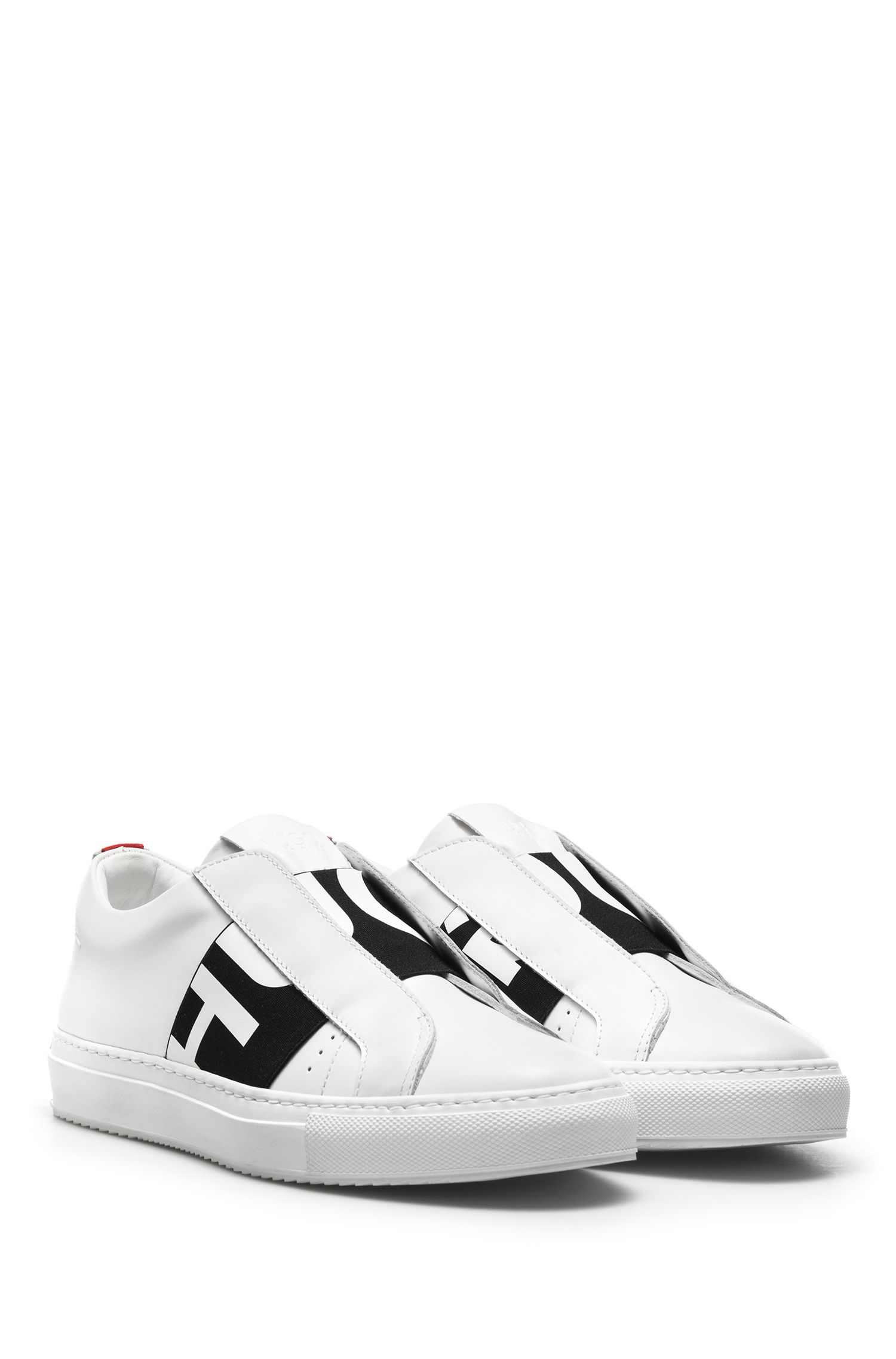 Reverse-logo slip-on trainers in calf leather