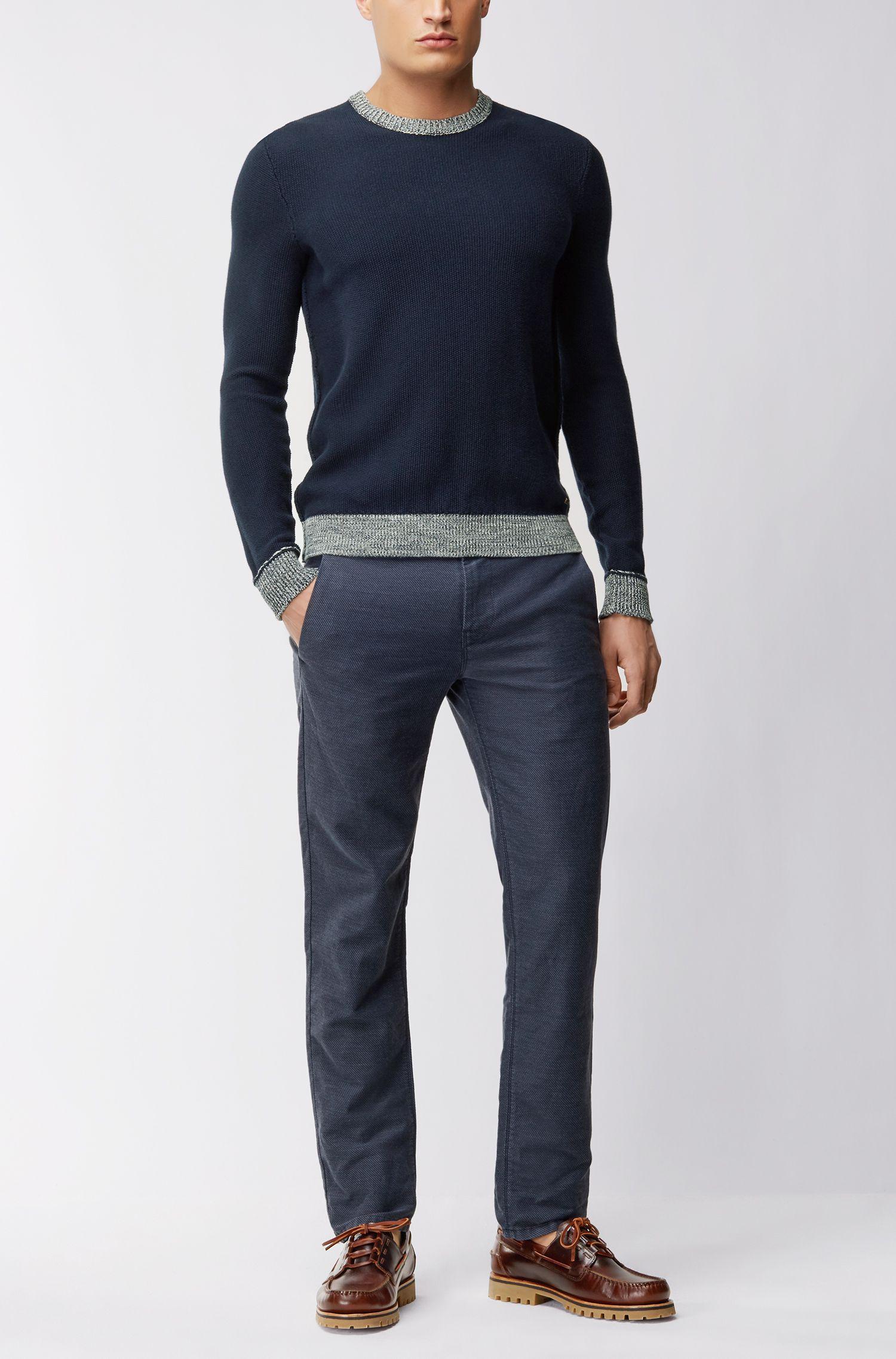 Maglione in cotone in maglia microlavorata con orlo mouliné a contrasto
