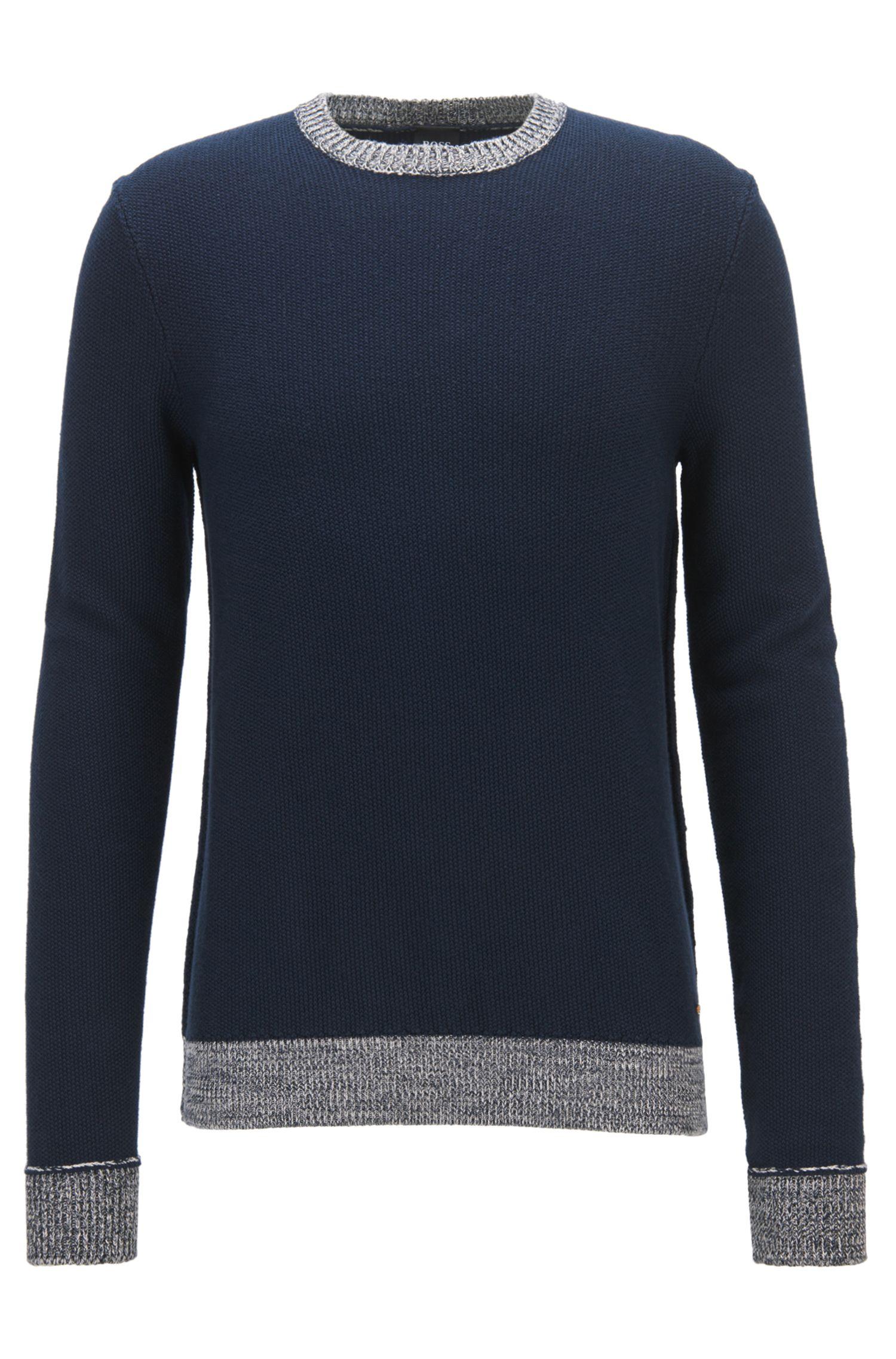 Strukturierter Pullover aus Baumwolle mit kontrastfarbenem Mouliné-Saum