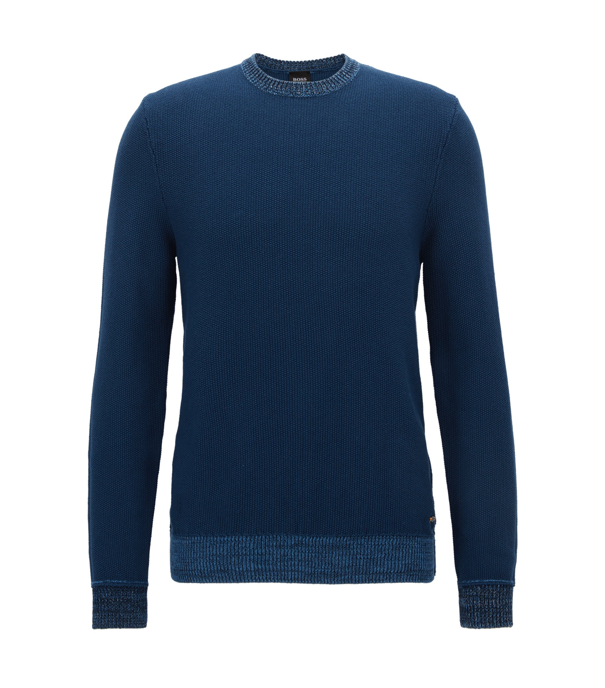 Micro-knit cotton sweater with mouline contrast hem, Dark Blue