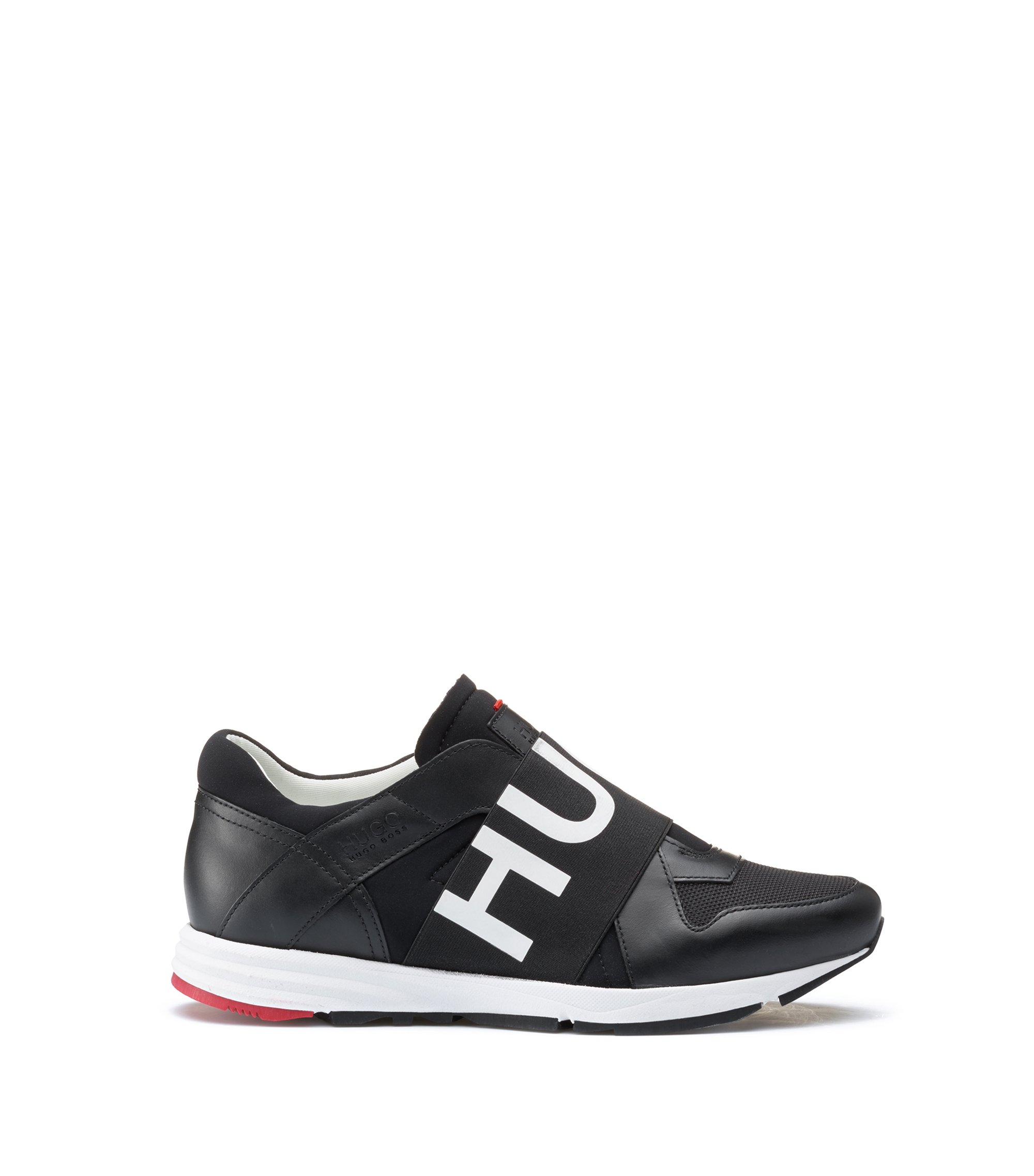Sneakers in pelle low-top con fascia con logo, Nero