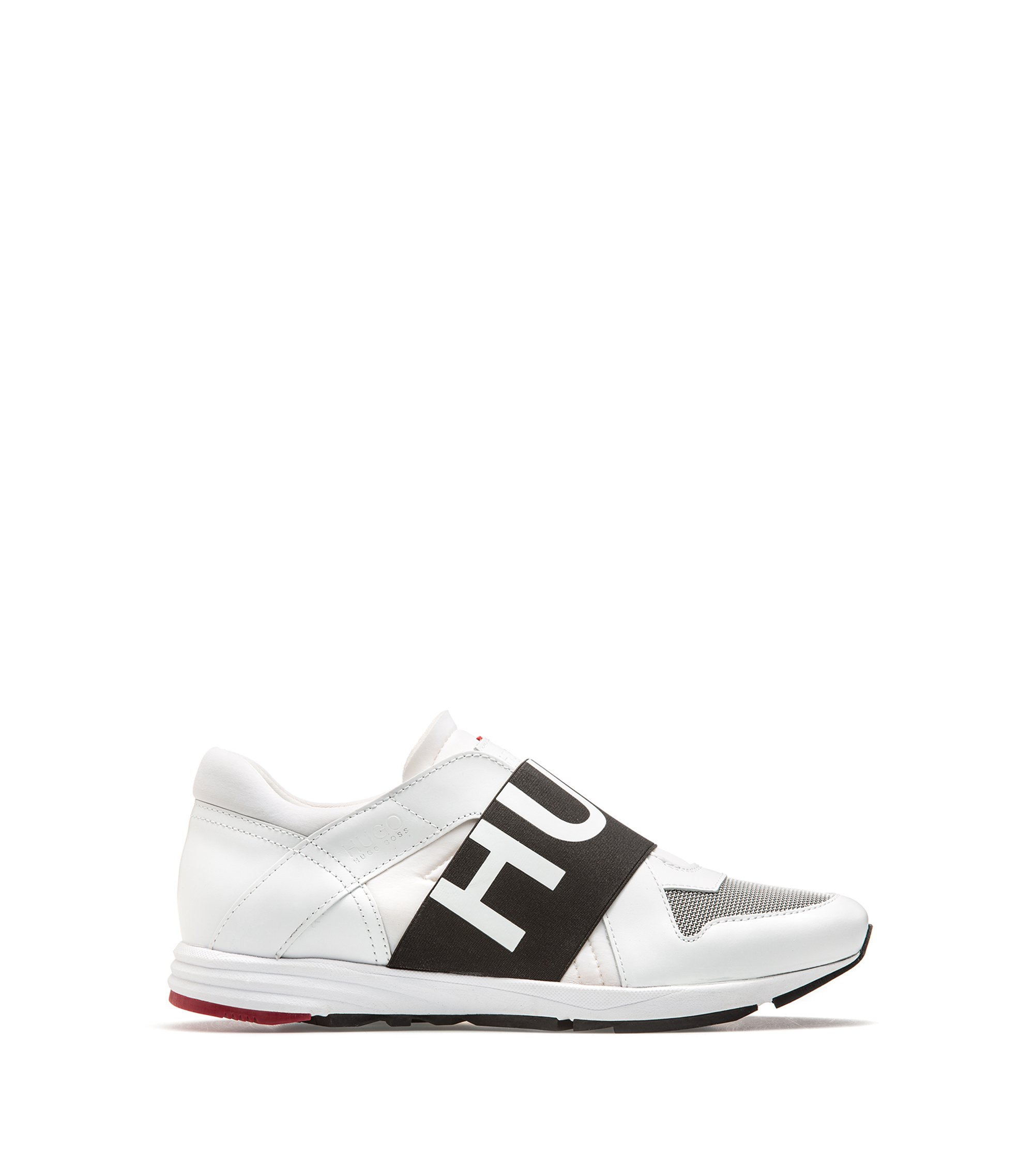 Sneakers in pelle low-top con fascia con logo, Bianco