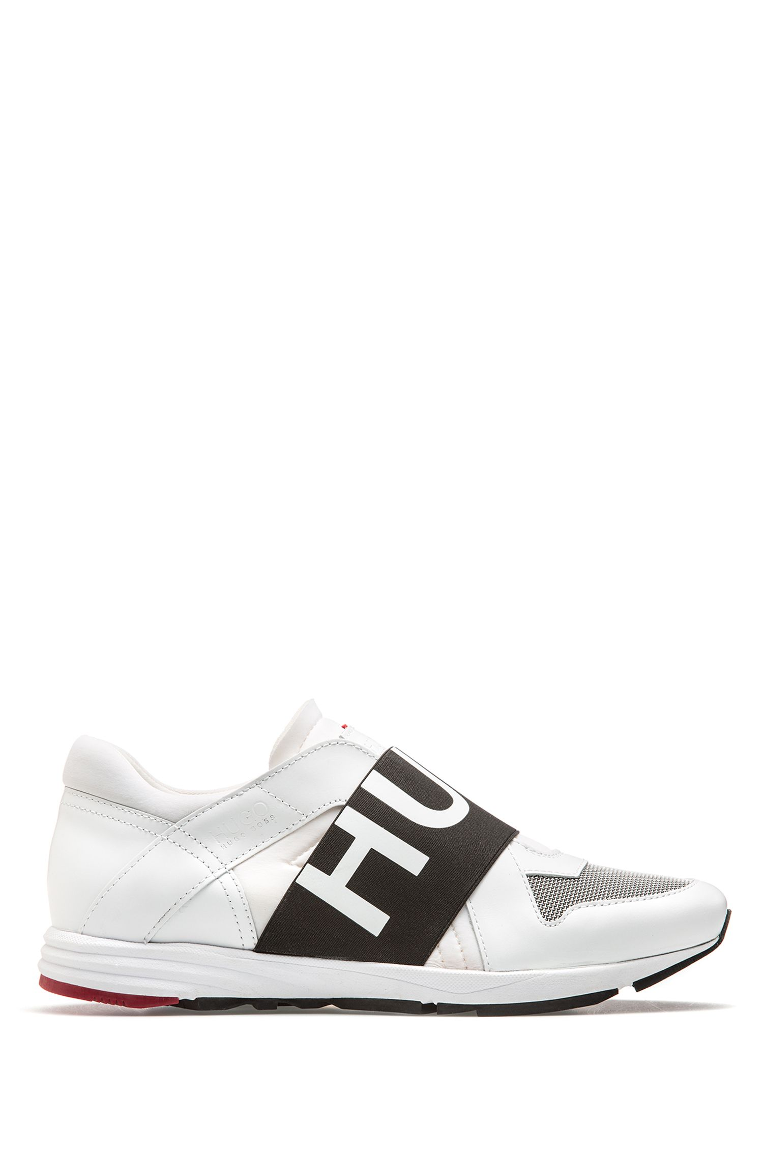 Low-top leather trainers with logo bandage