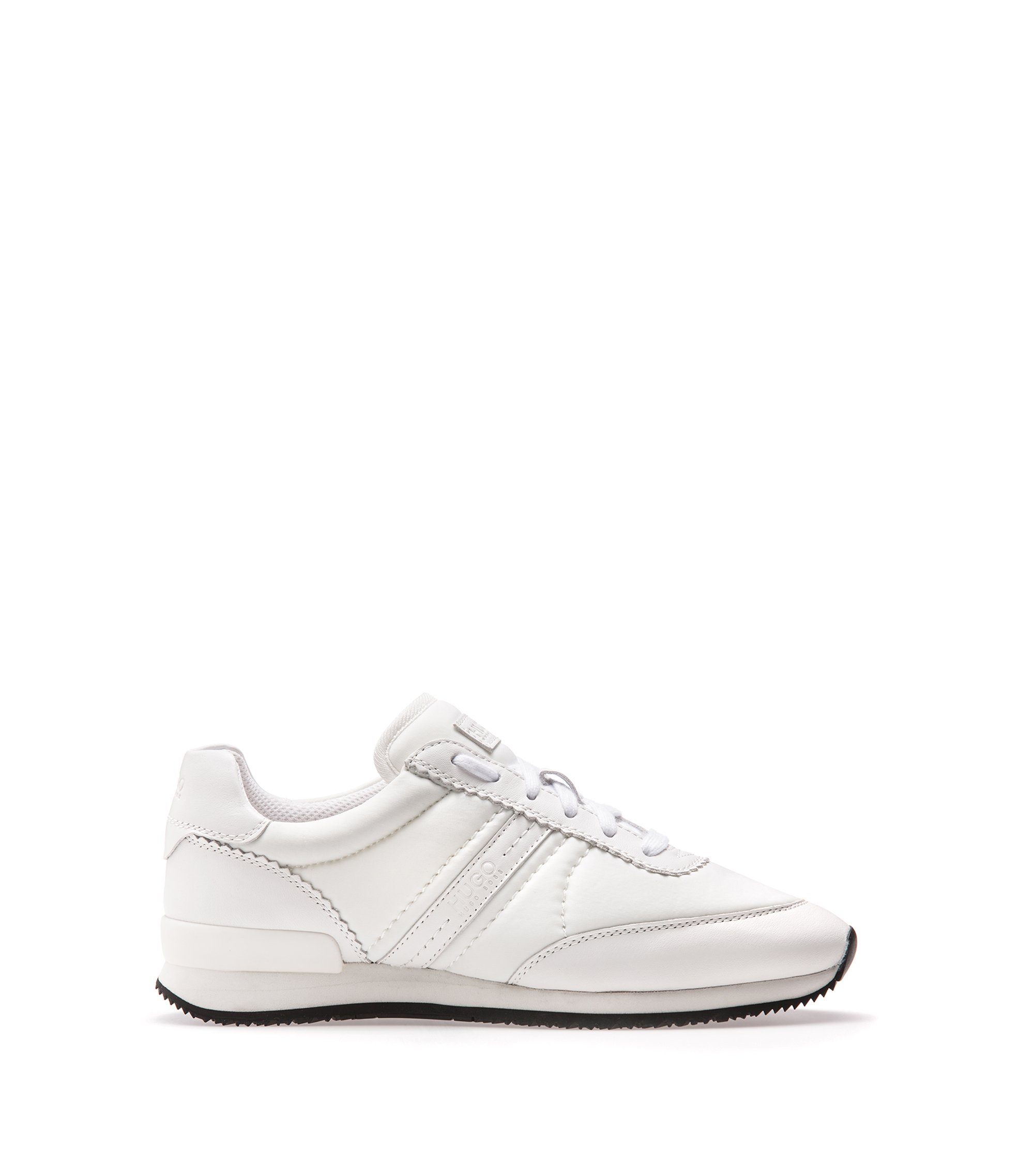 Low-top trainers with suede panels, White
