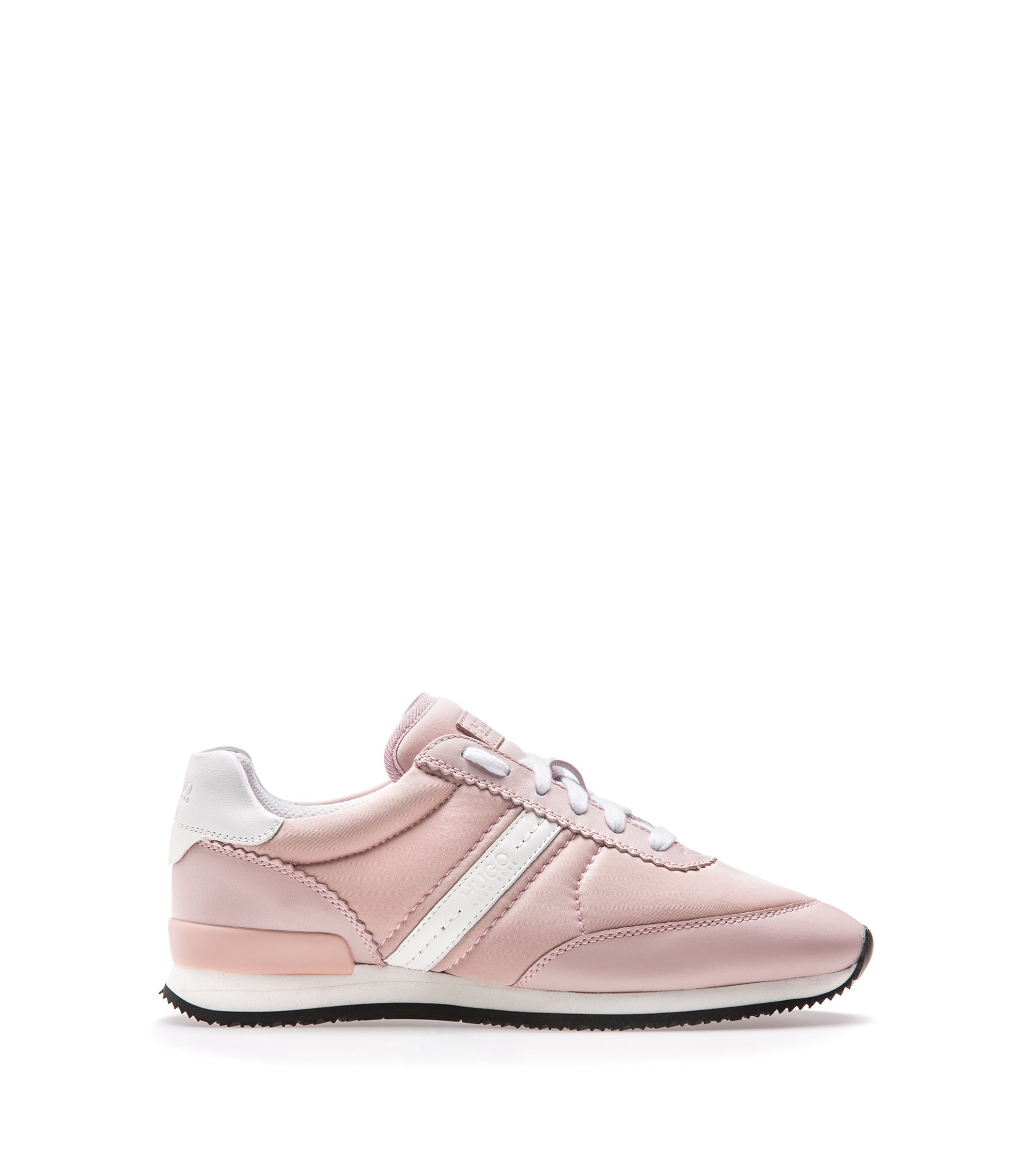 Low-top trainers with suede panels, light pink