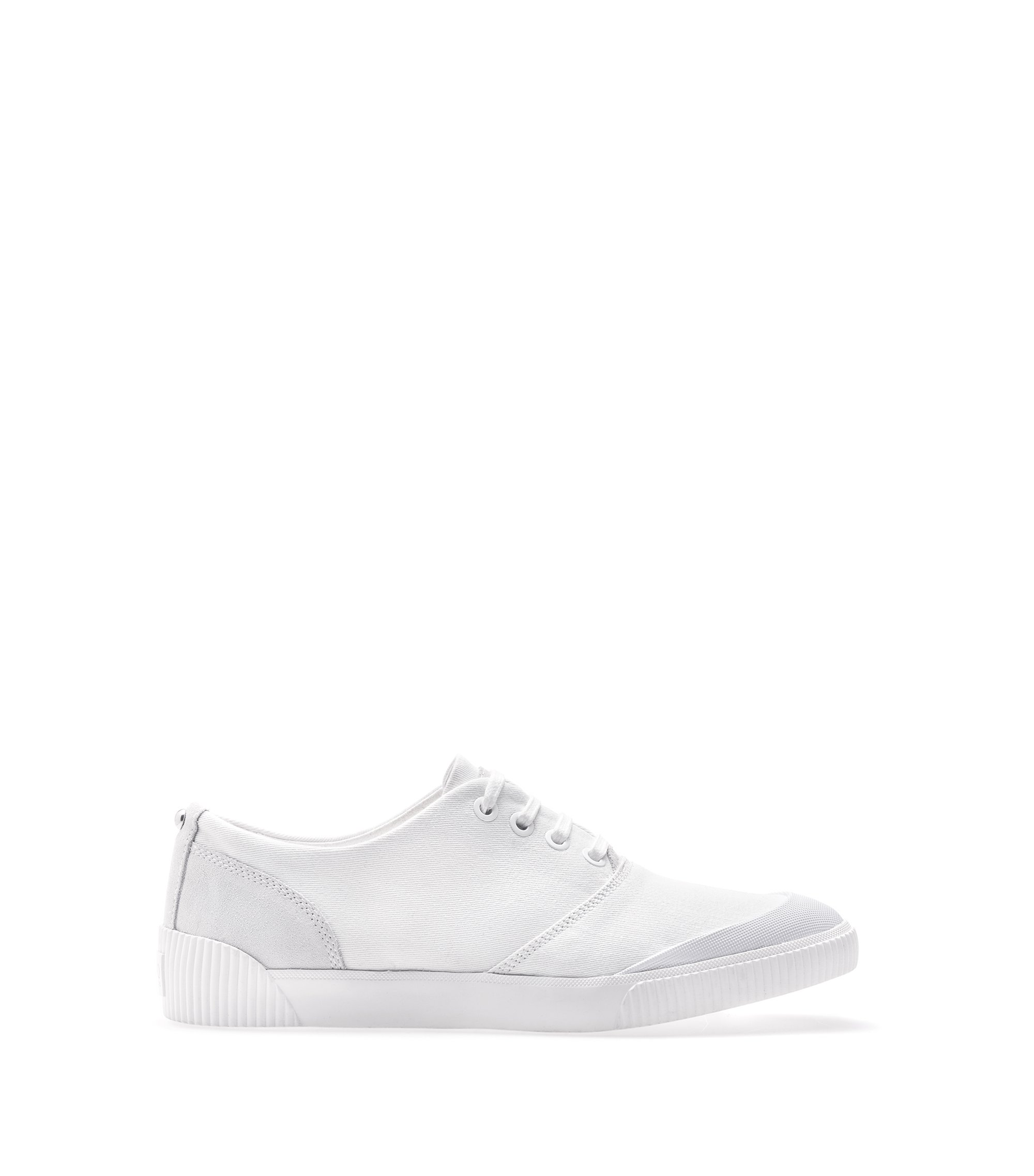Low-top trainers in Italian leather and canvas, White