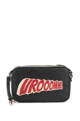 Leren crossbody-tas met kenmerkende slogan , Zwart