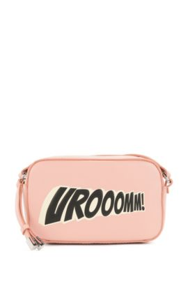 Leather crossbody bag with statement slogan , light pink