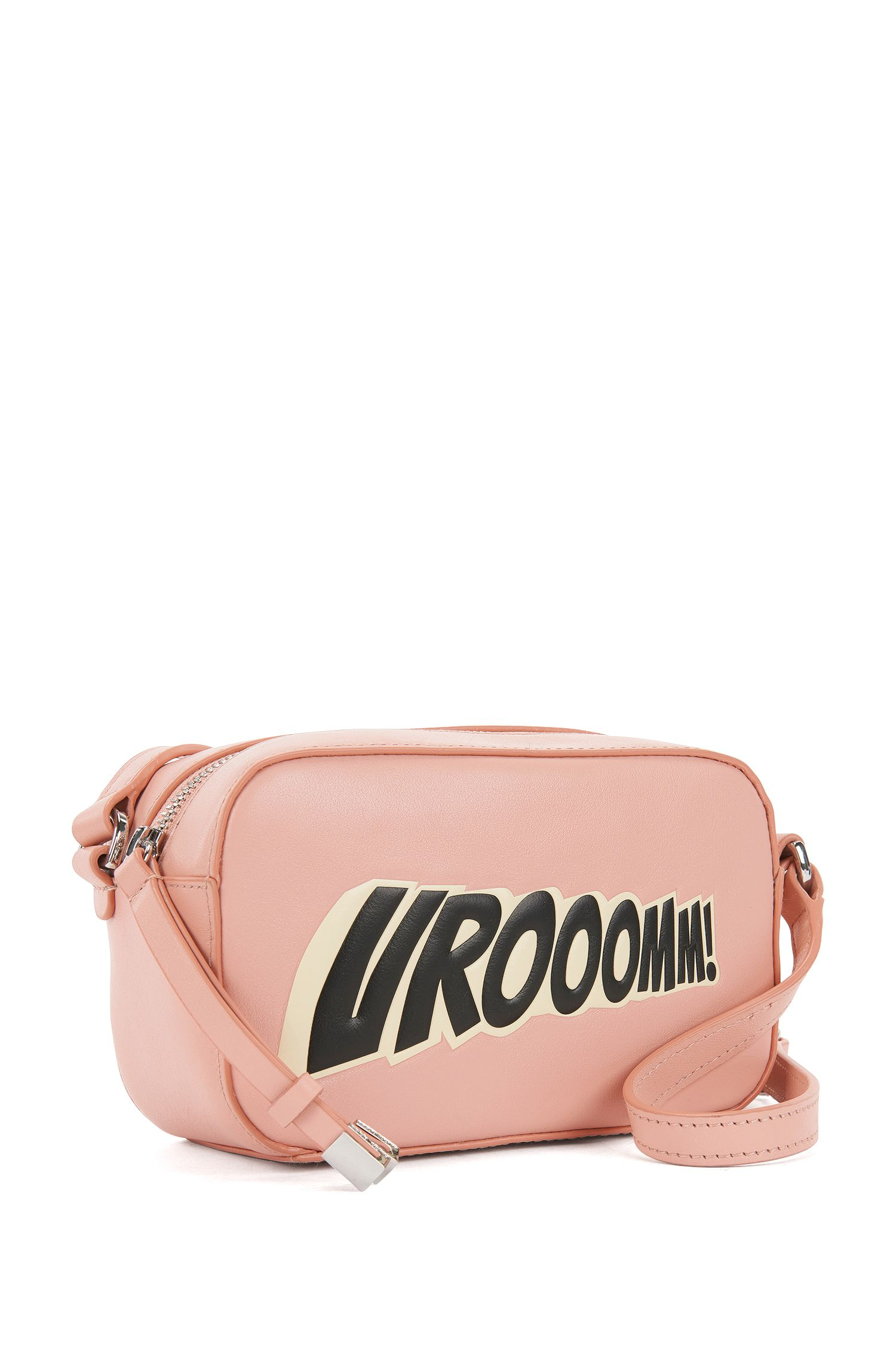 Leather crossbody bag with statement slogan