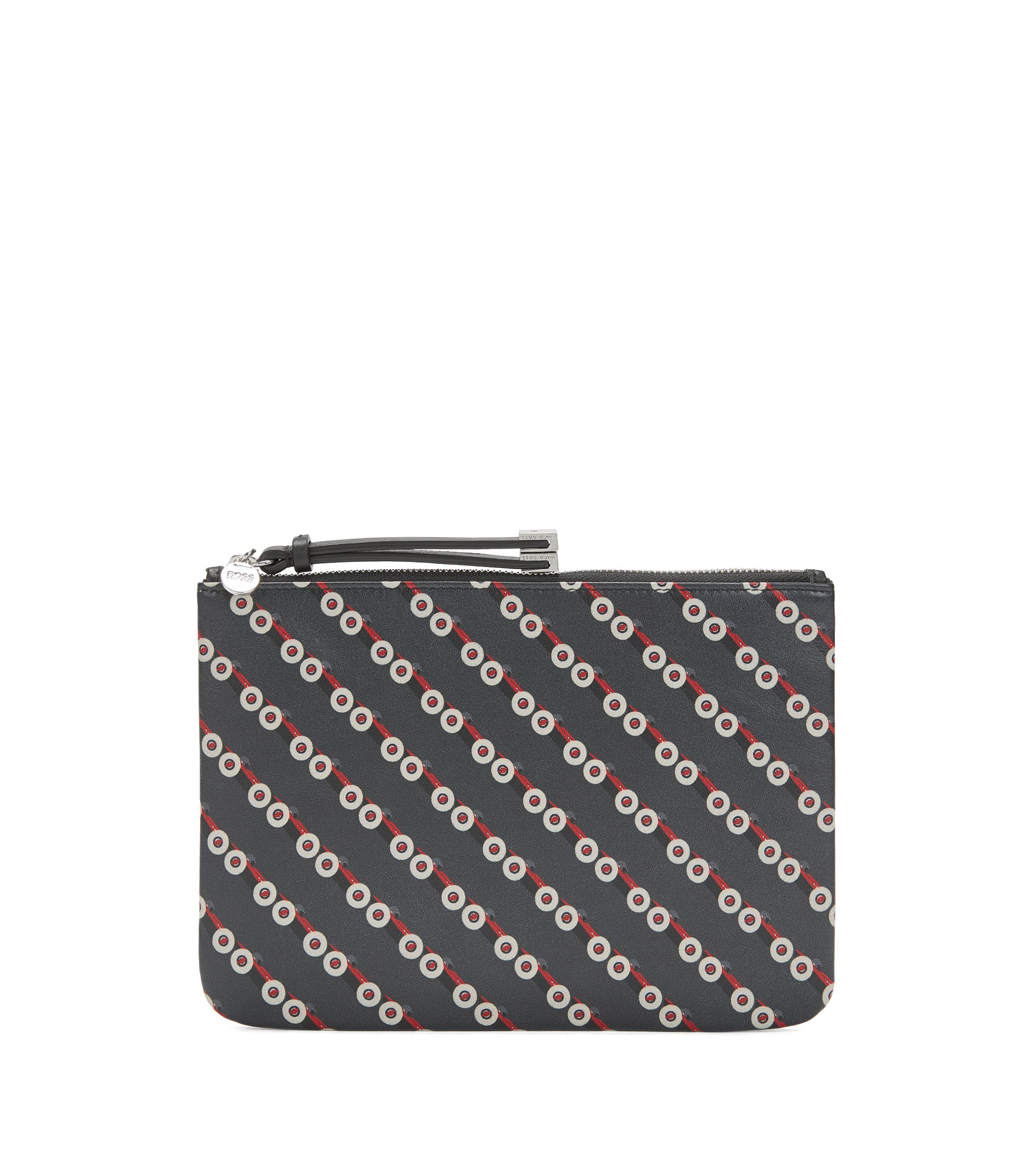 Zip-top leather pouch with race car print, Black