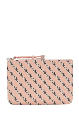 Zip-top leather pouch with race car print, light pink