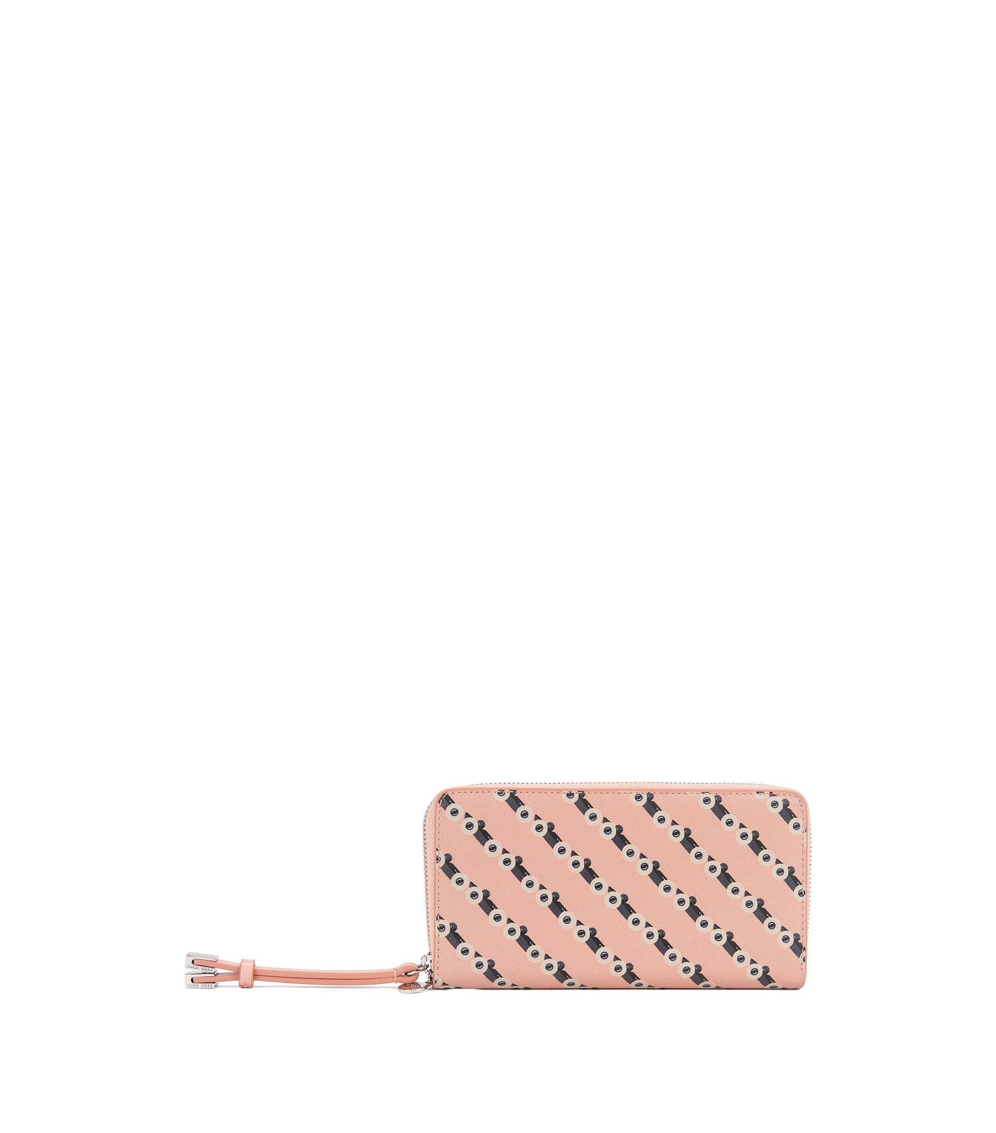 Leather ziparound wallet with race car motif, light pink