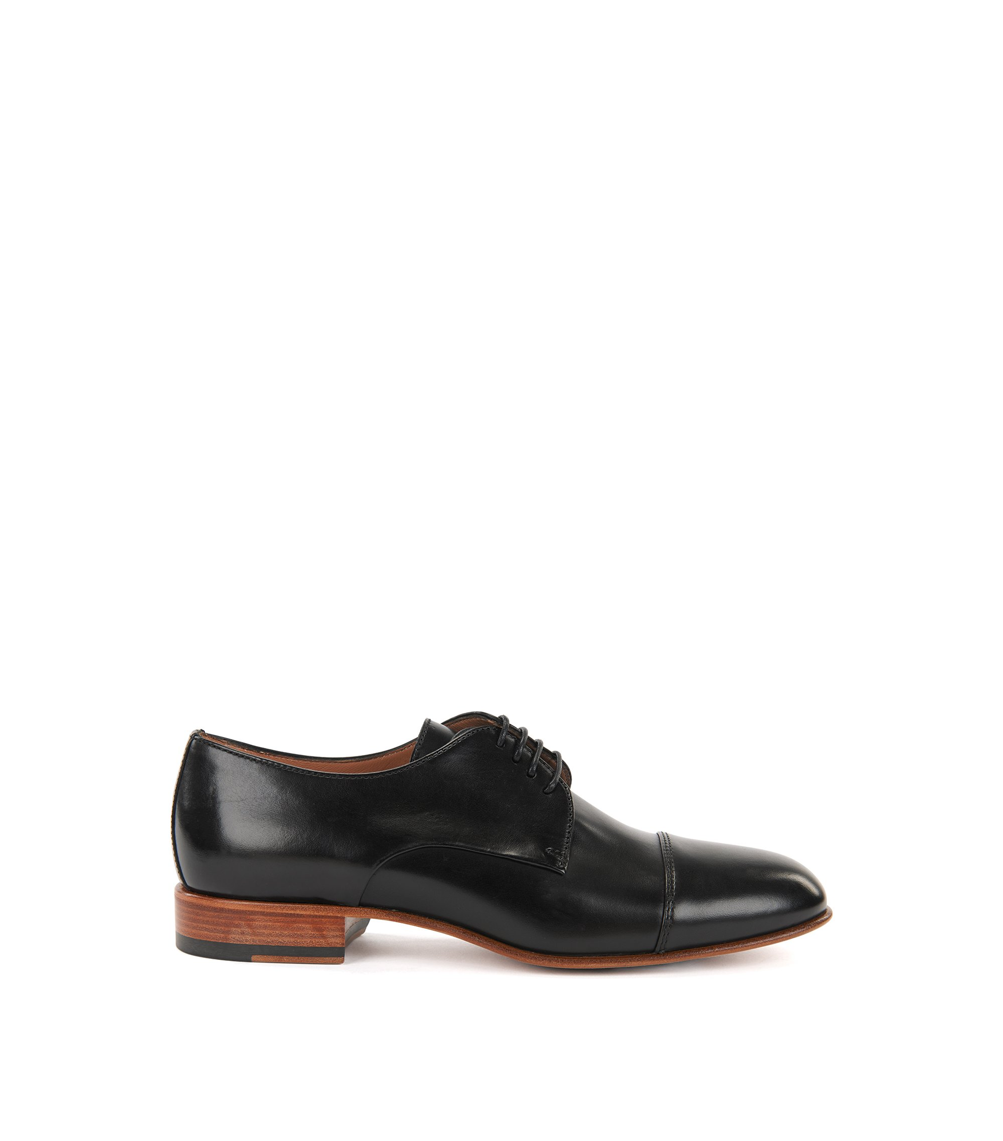 Zapatos derby en piel de becerro italiana, Negro