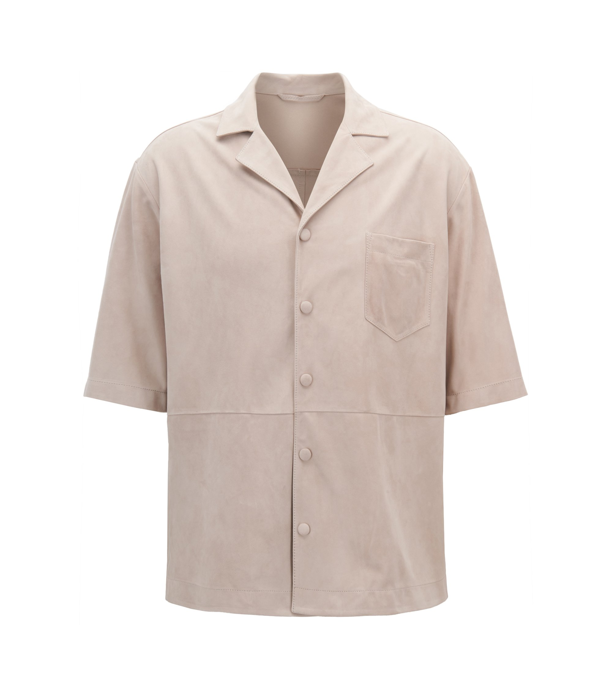 Regular-fit shirt in lambskin suede, Natural