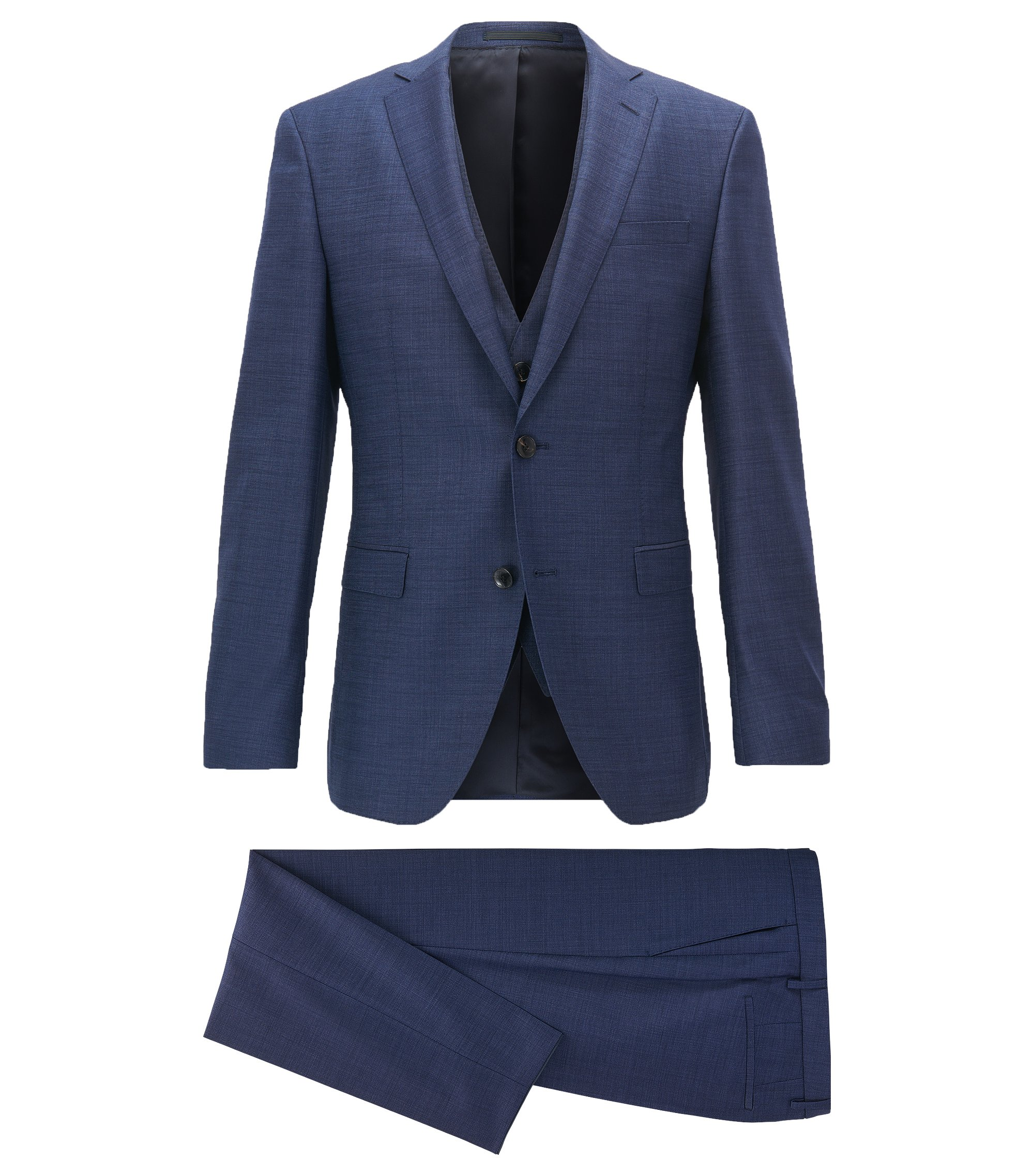 Extra-slim-fit three-piece suit in virgin wool, Blue