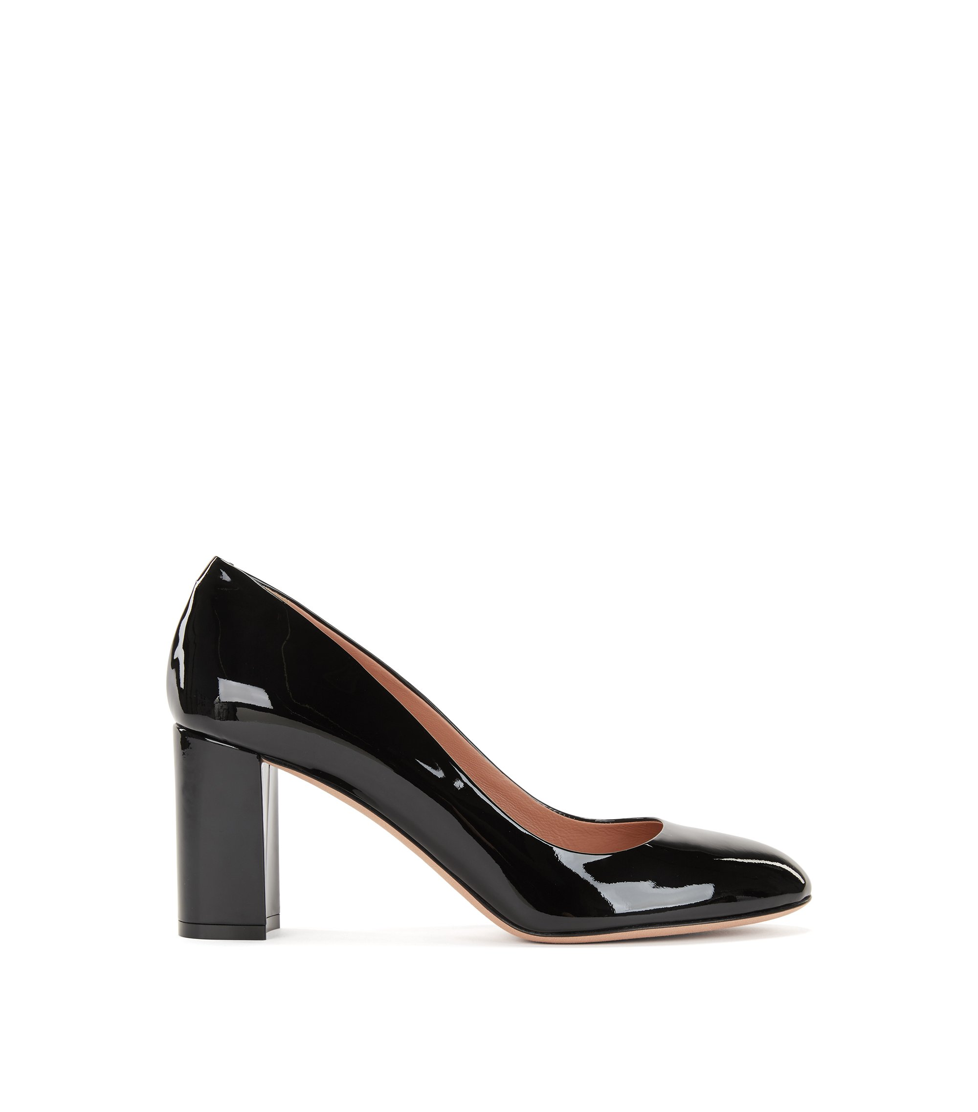 Stack-heel pumps in Italian patent leather, Black