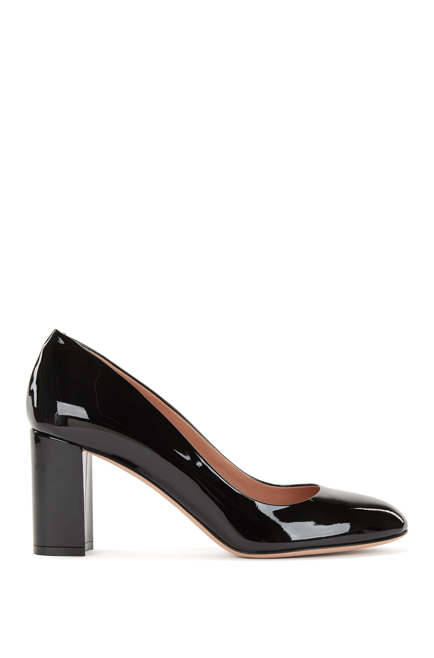 Stack-heel pumps in Italian patent leather