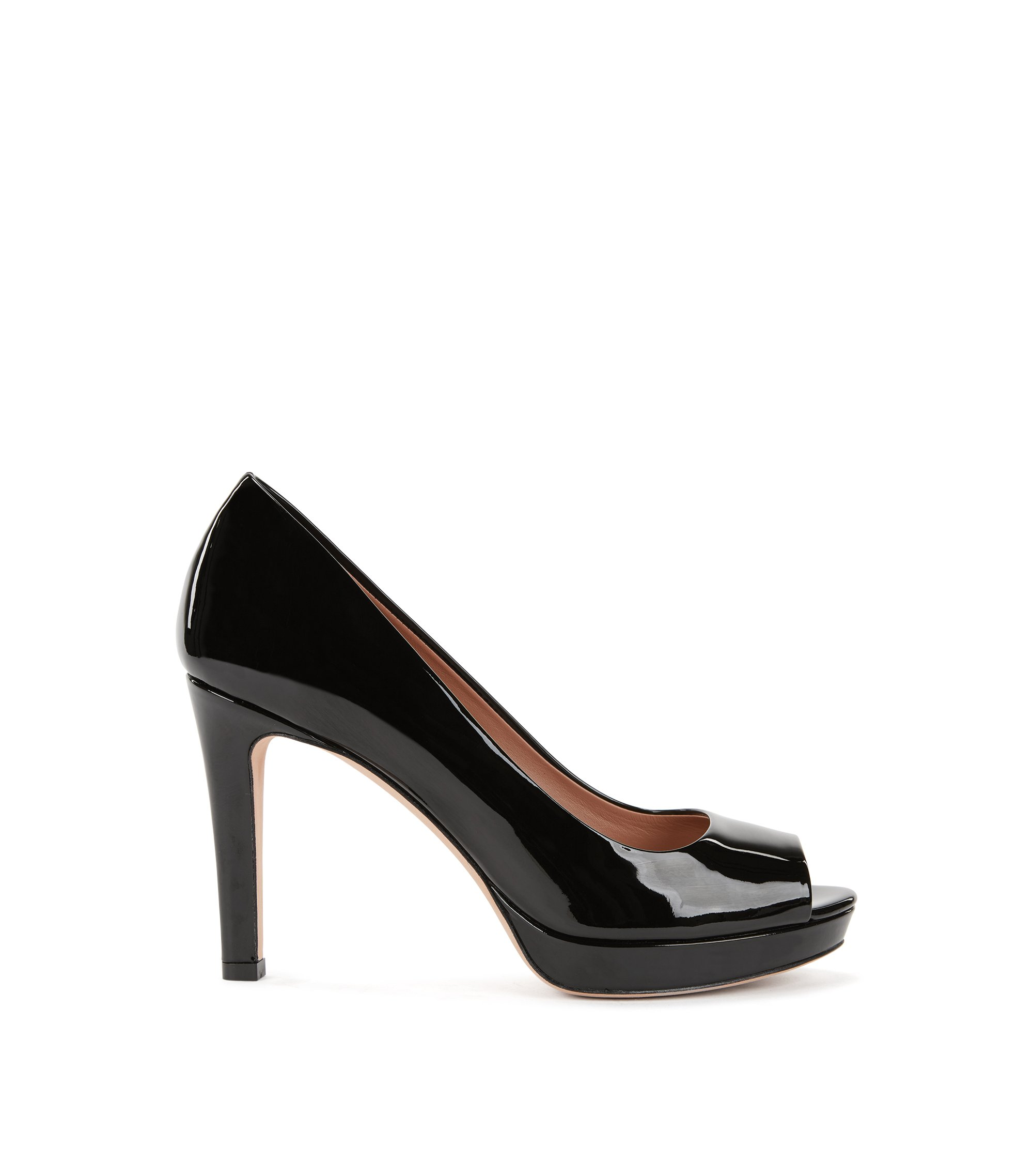 Open-toed pumps in Italian patent calf leather, Black