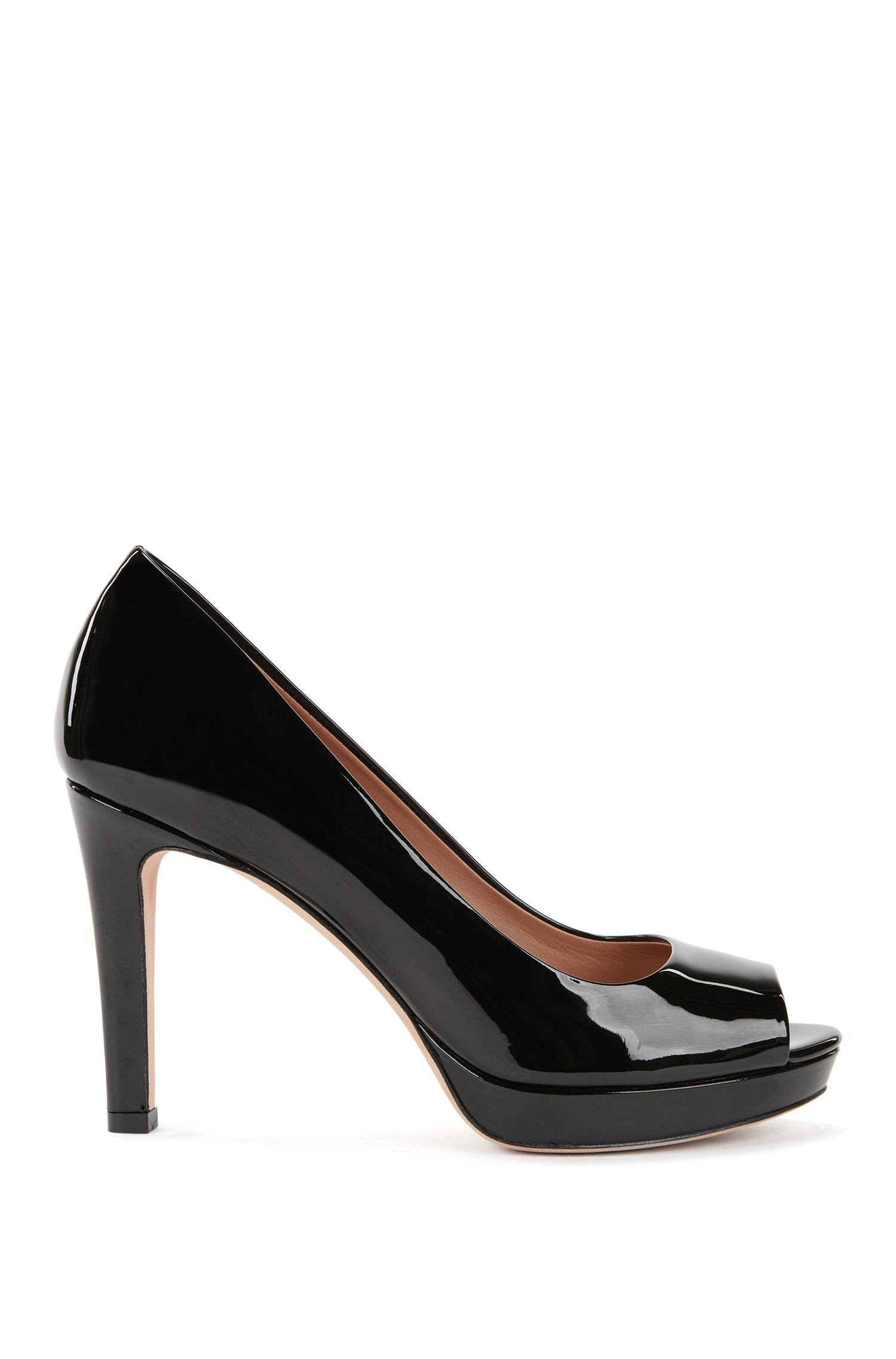 Open-toed pumps in Italian patent calf leather