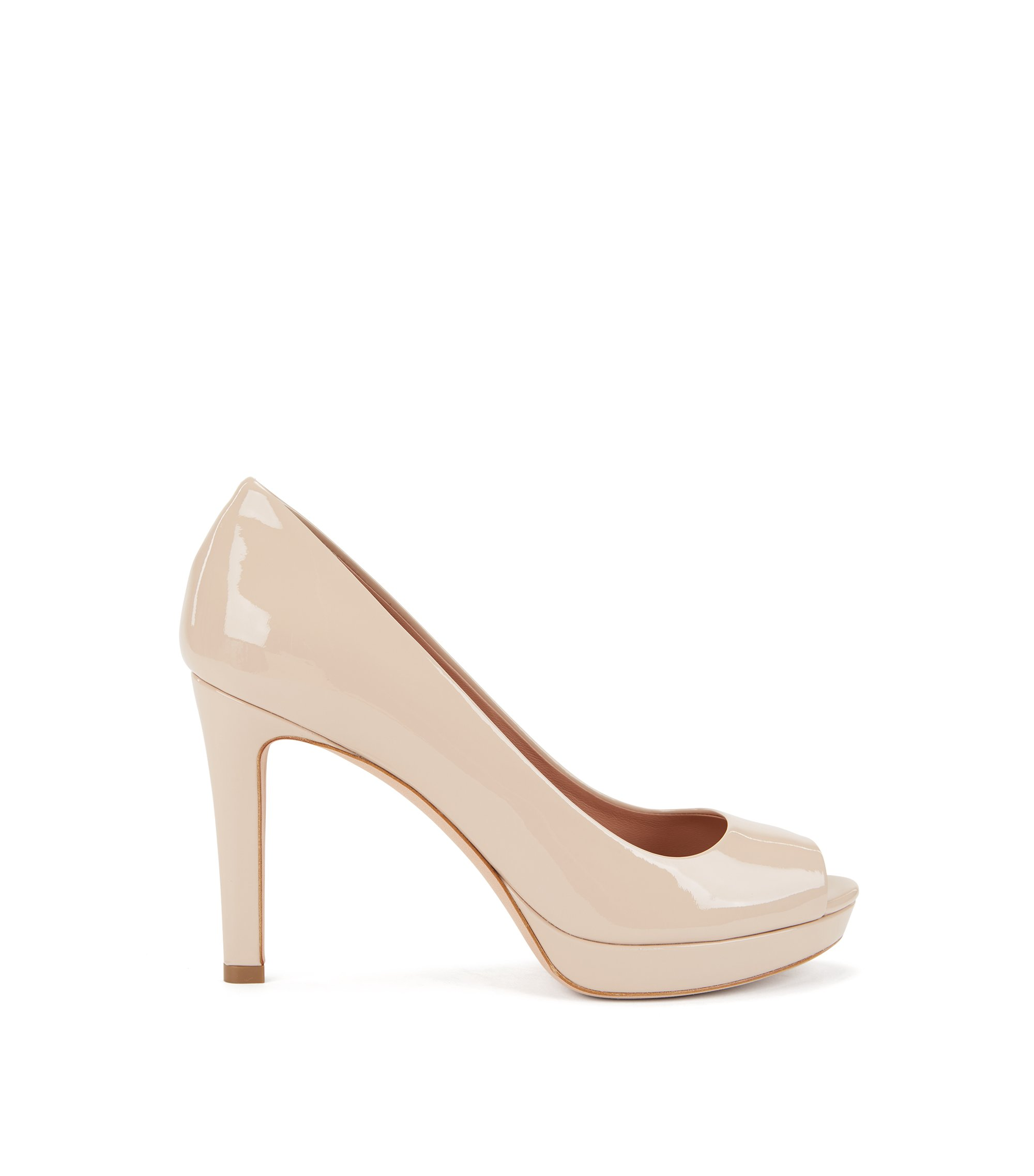 Open-toed pumps in Italian patent calf leather, Light Beige