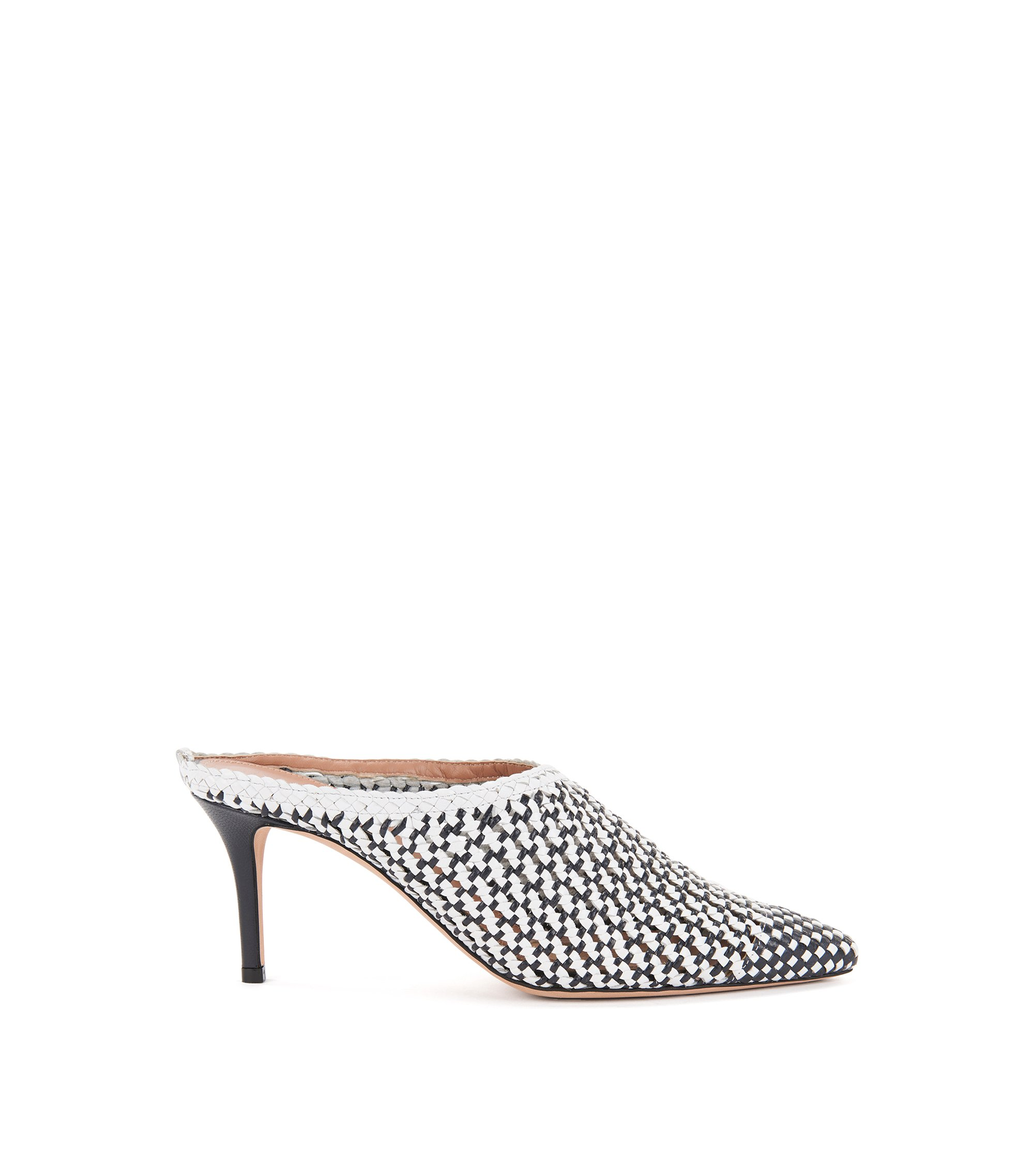 Heeled muled in woven leather, Blue