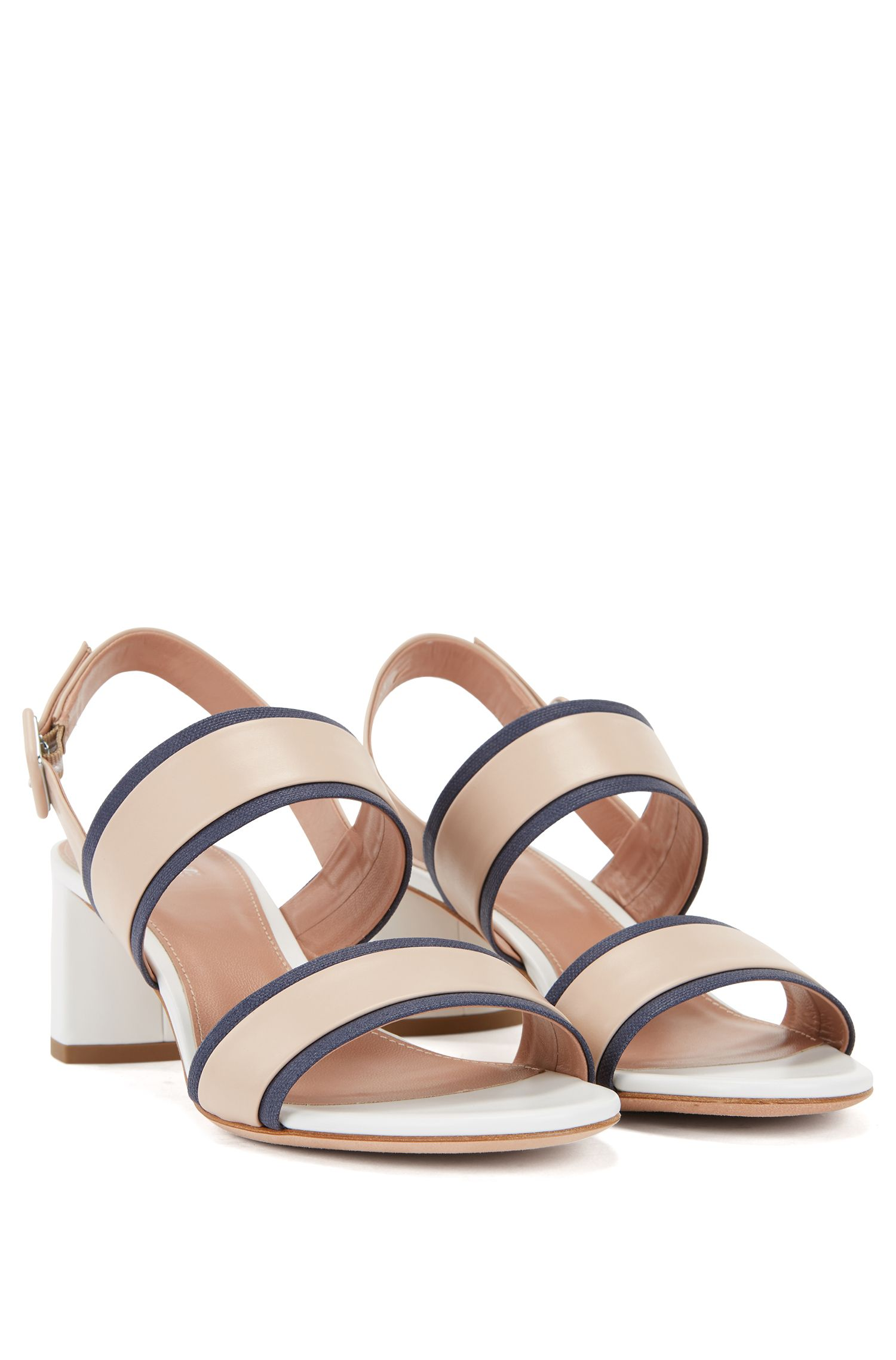 Italian calf-leather sandals with canvas trim