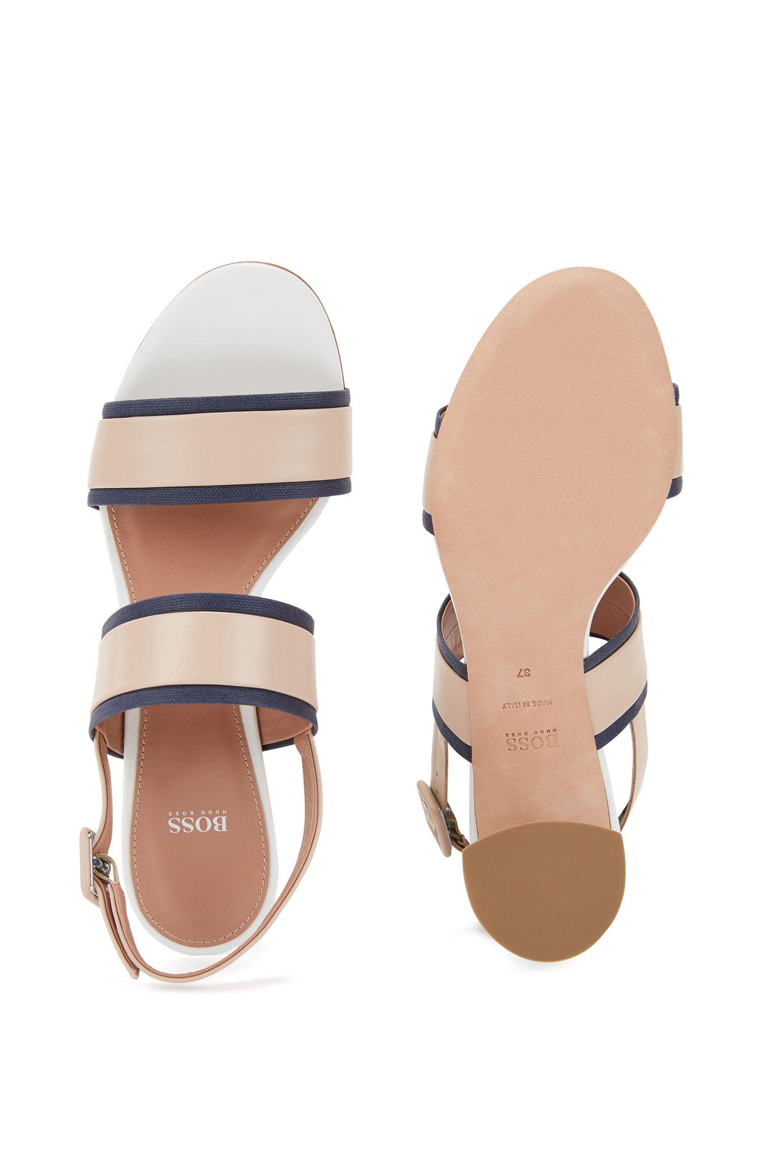 Sandalen aus italienischem Leder mit Canvas-Besatz MUBHl