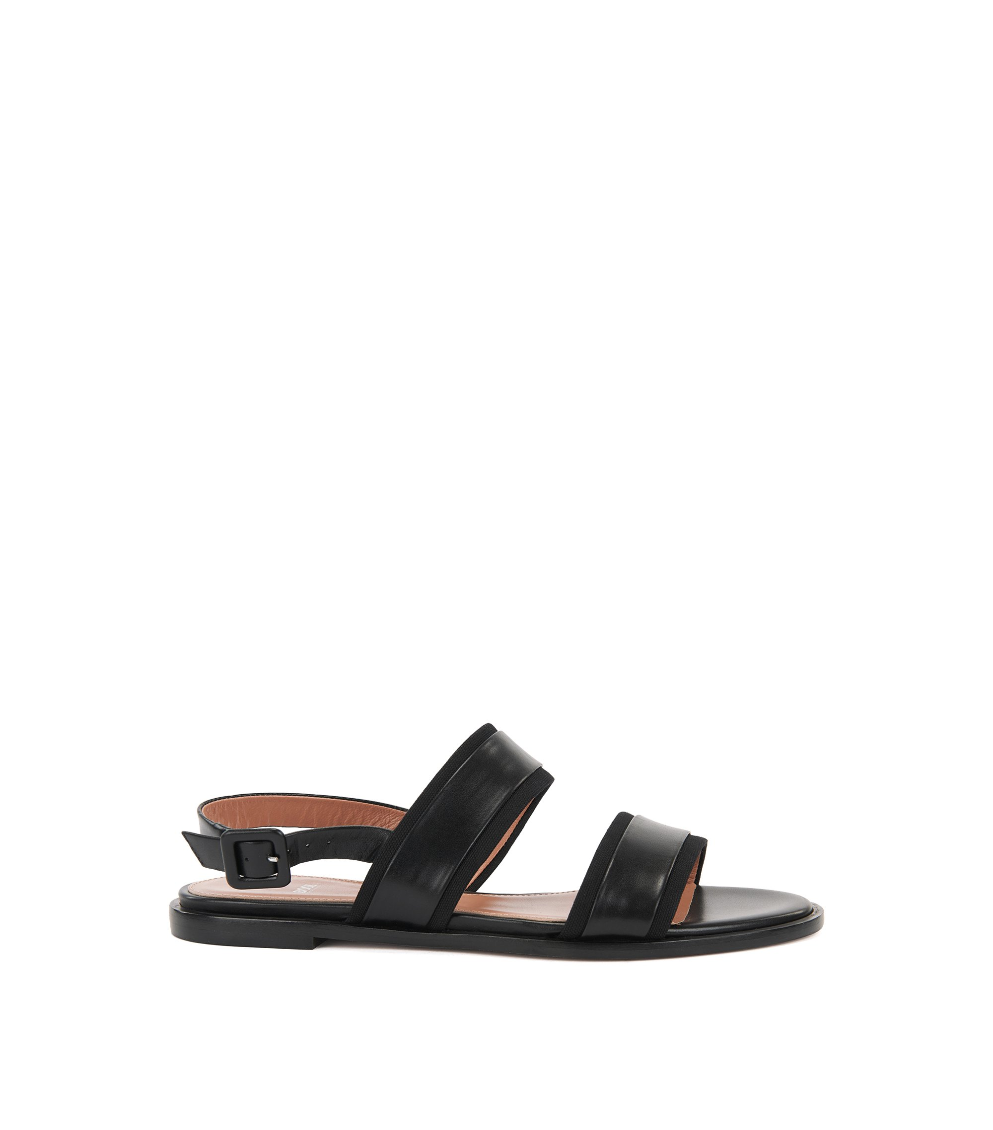 Flat slingback sandals in Italian leather with canvas trims, Black