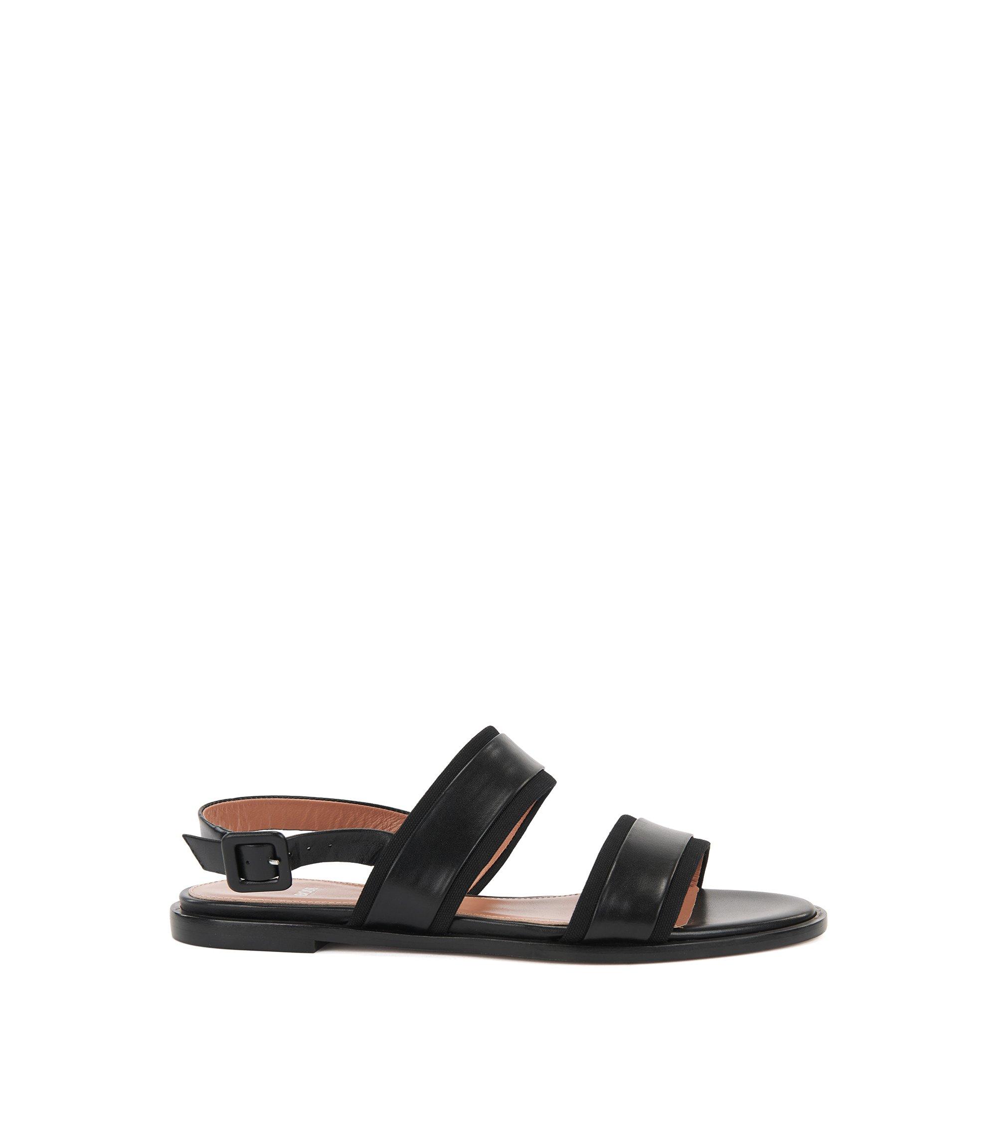Platte sandalen van Italiaans leer met open hiel en canvasdecoraties, Zwart