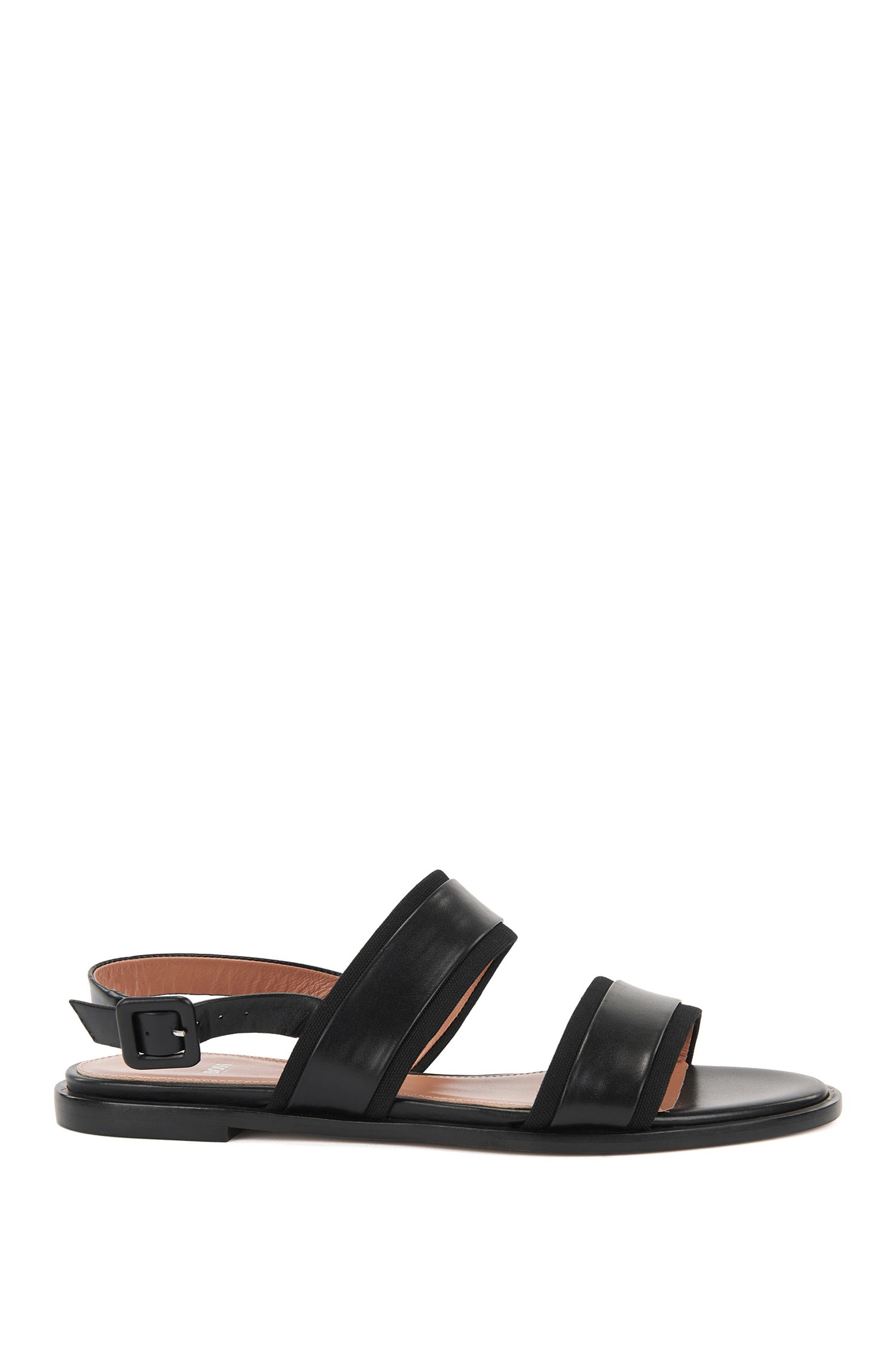 Flat slingback sandals in Italian leather with canvas trims