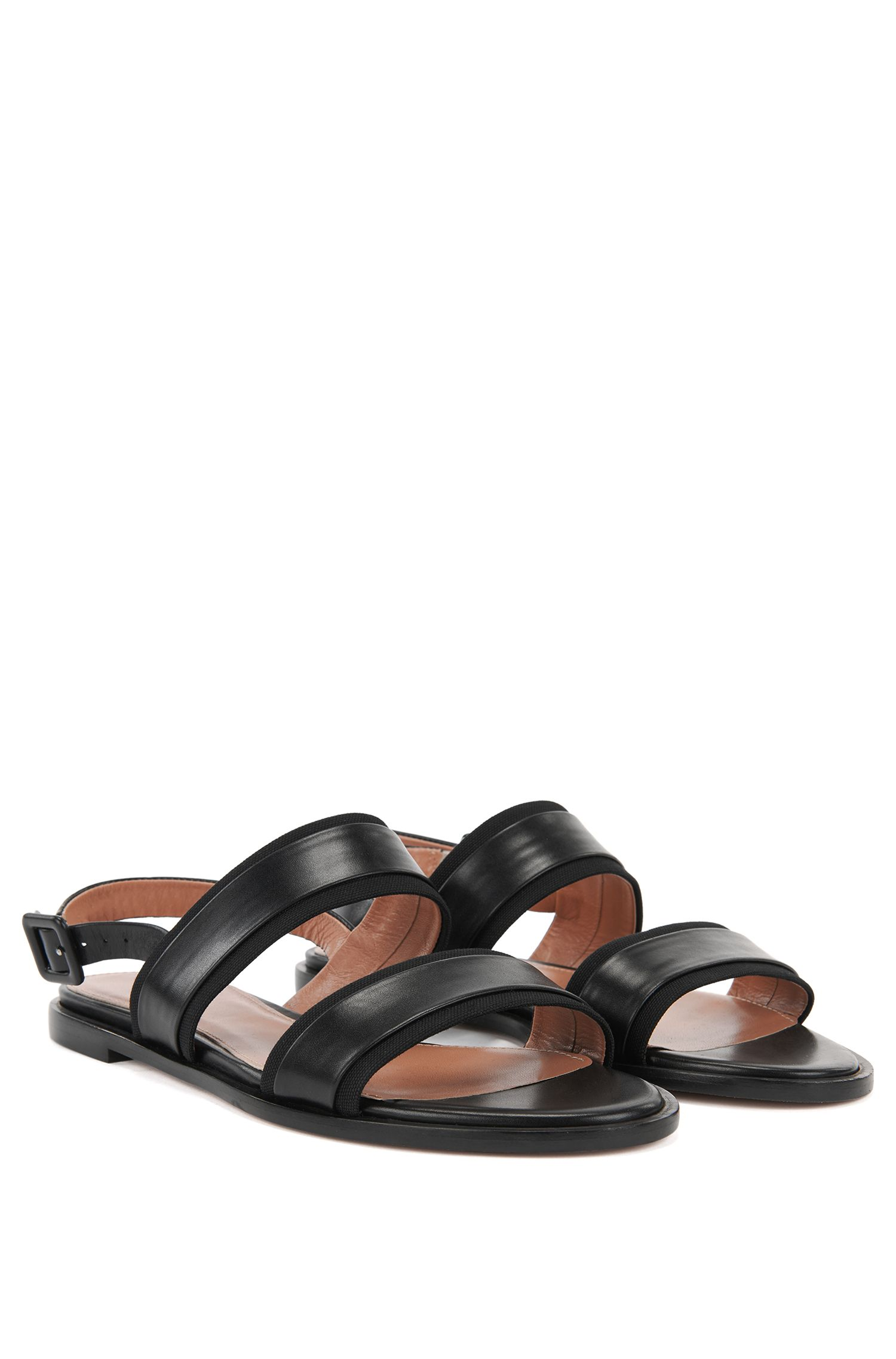 Flat slingback sandals in Italian leather with canvas trims BOSS