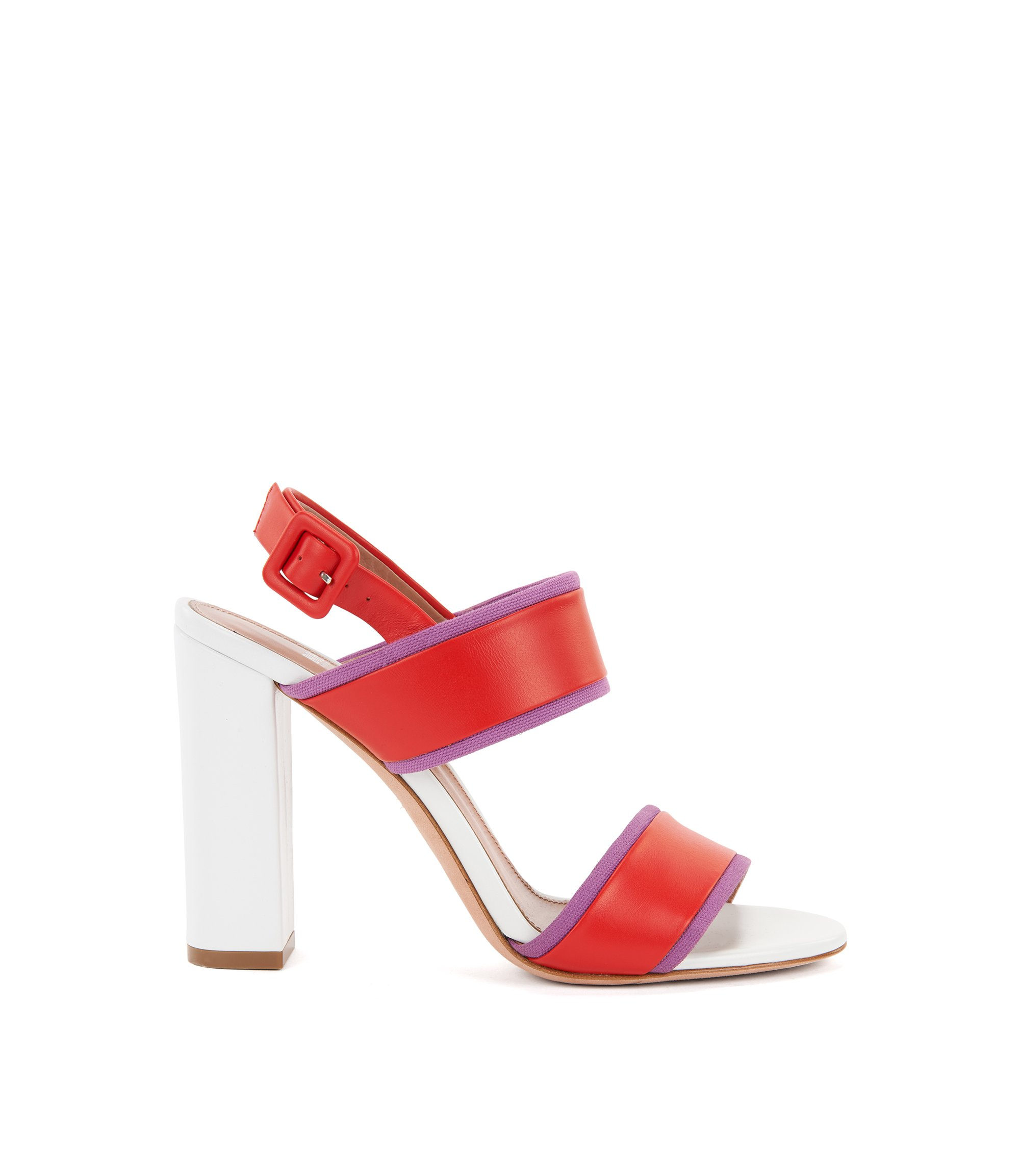 Block-heel sandals in Italian leather, Red