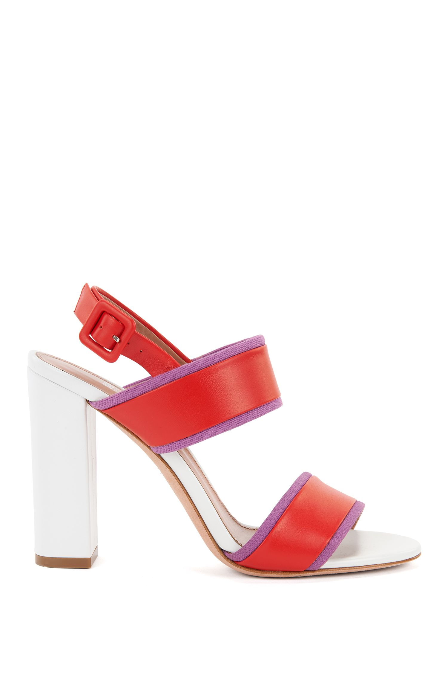 Block-heel sandals in Italian leather