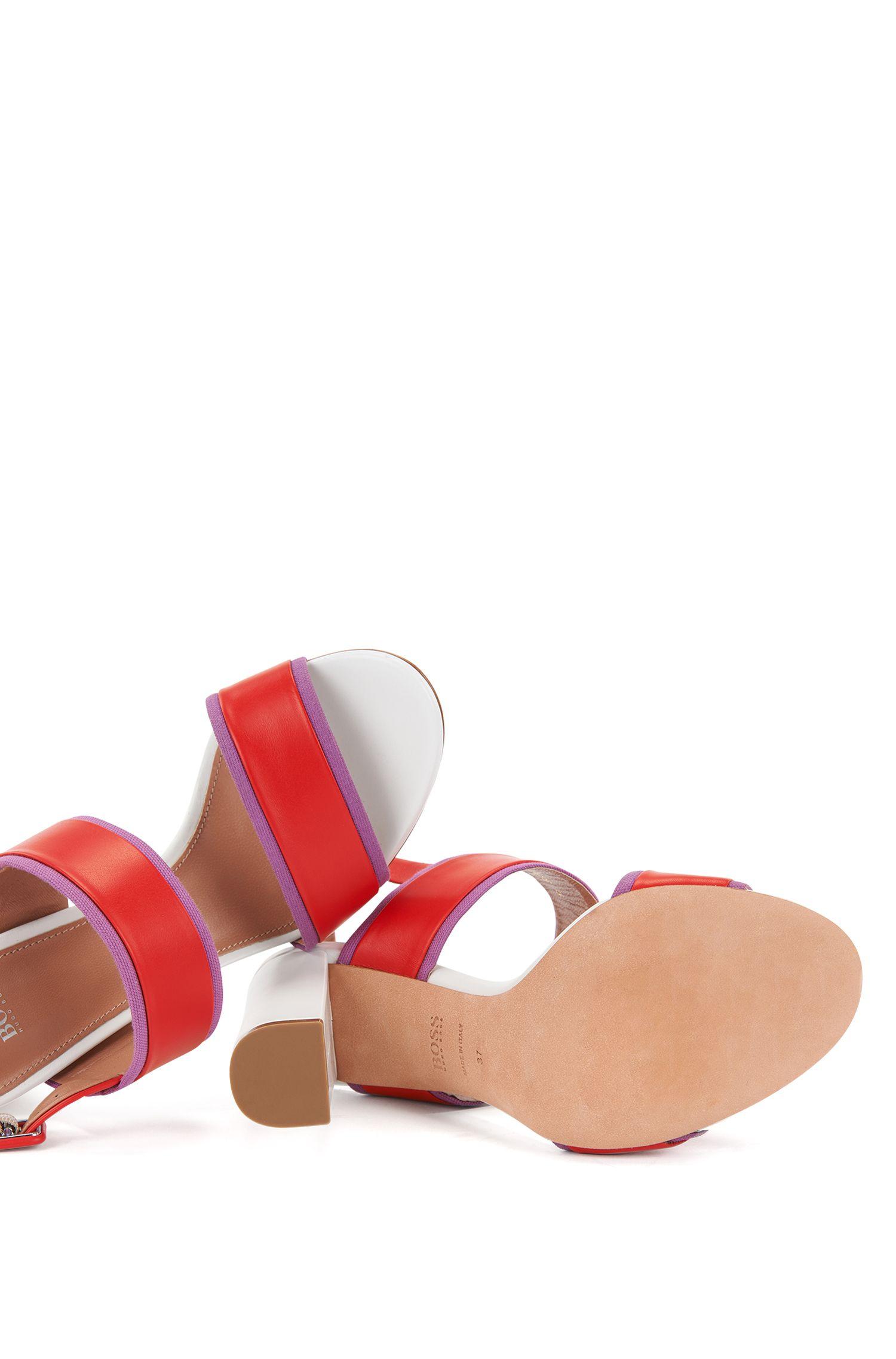 Sandales à talon bottier en cuir italien