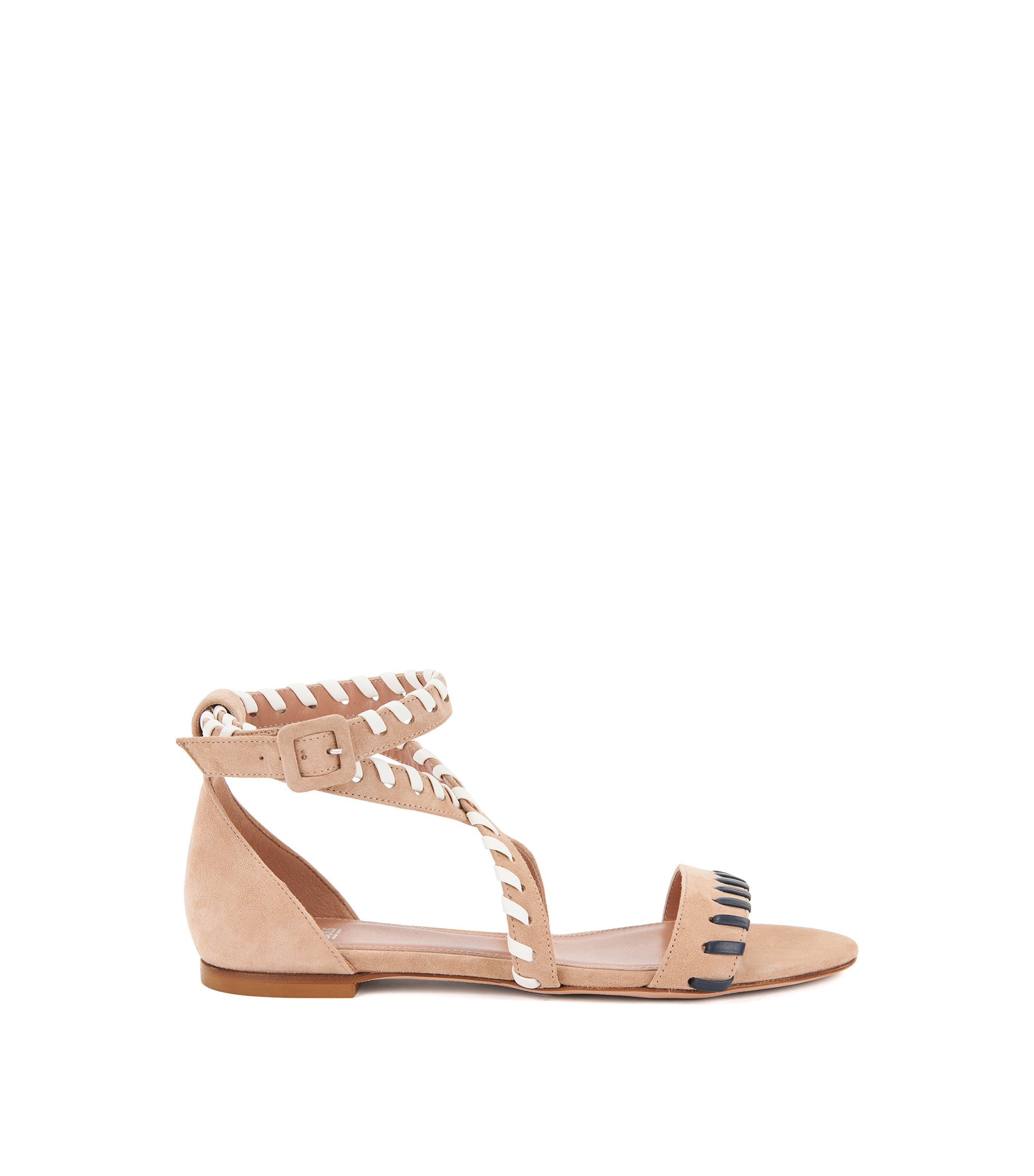 Flat suede sandals with whipstitching, Light Beige