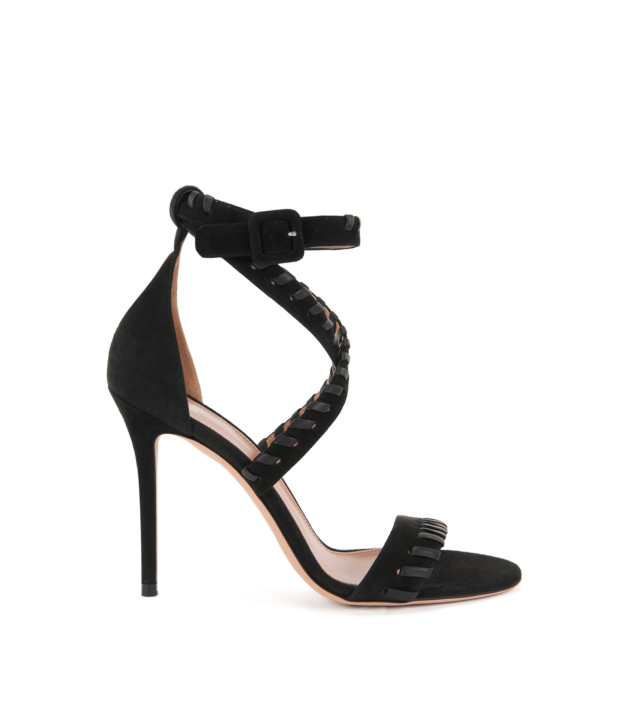 Suede sandals with leather whipstitch trim , Black