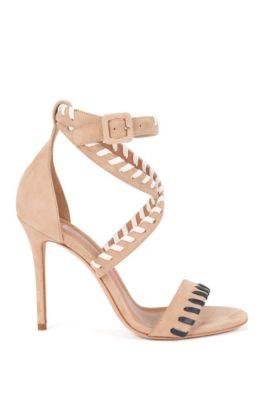 Sandalen aus weichem Veloursleder mit Überwendlingsstich-Verzierung , Hellbeige