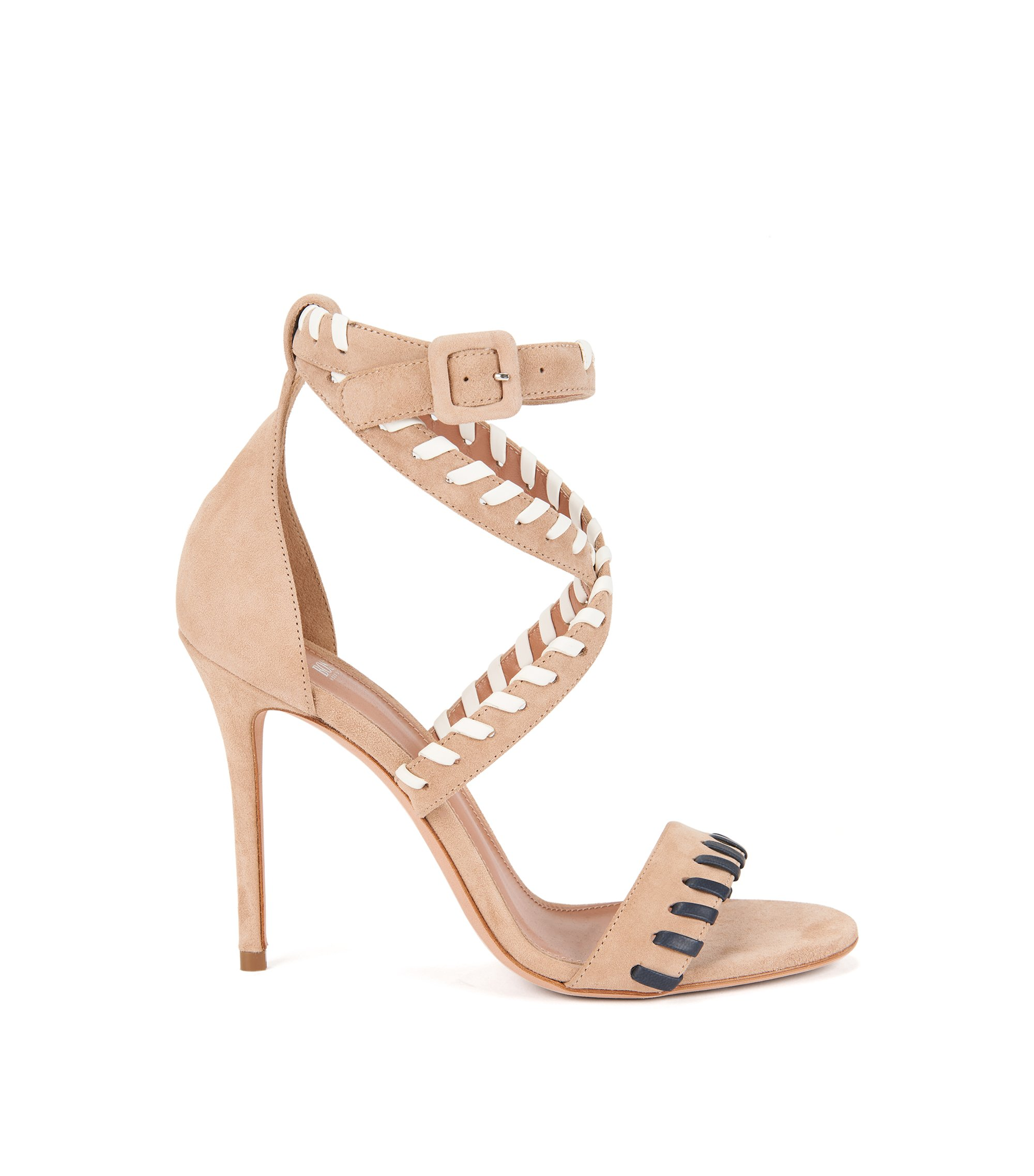 Sandales en daim avec détail en cuir en point roulé , Beige clair
