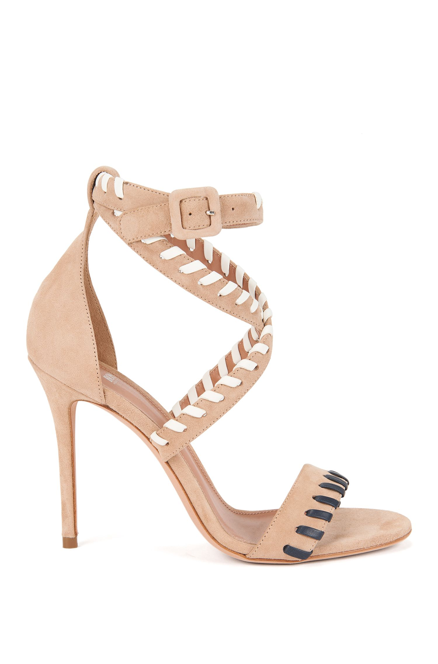 Suede sandals with leather whipstitch trim